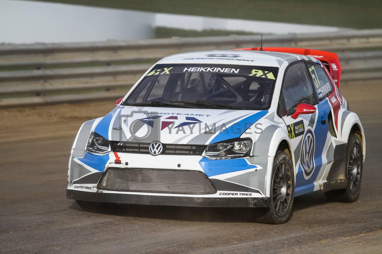 ISTANBUL, TURKEY - OCTOBER 03, 2015: Toomas Heikkinen drives Volkswagen Polo of Marklund Motorsport Team in FIA World Rallycross Championship.