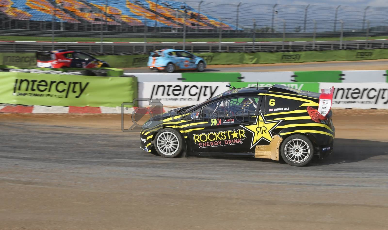 ISTANBUL, TURKEY - OCTOBER 03, 2015: Tom Onslow Cole drives RXLites car of Olsbergs MSE Team in FIA World Rallycross Championship.