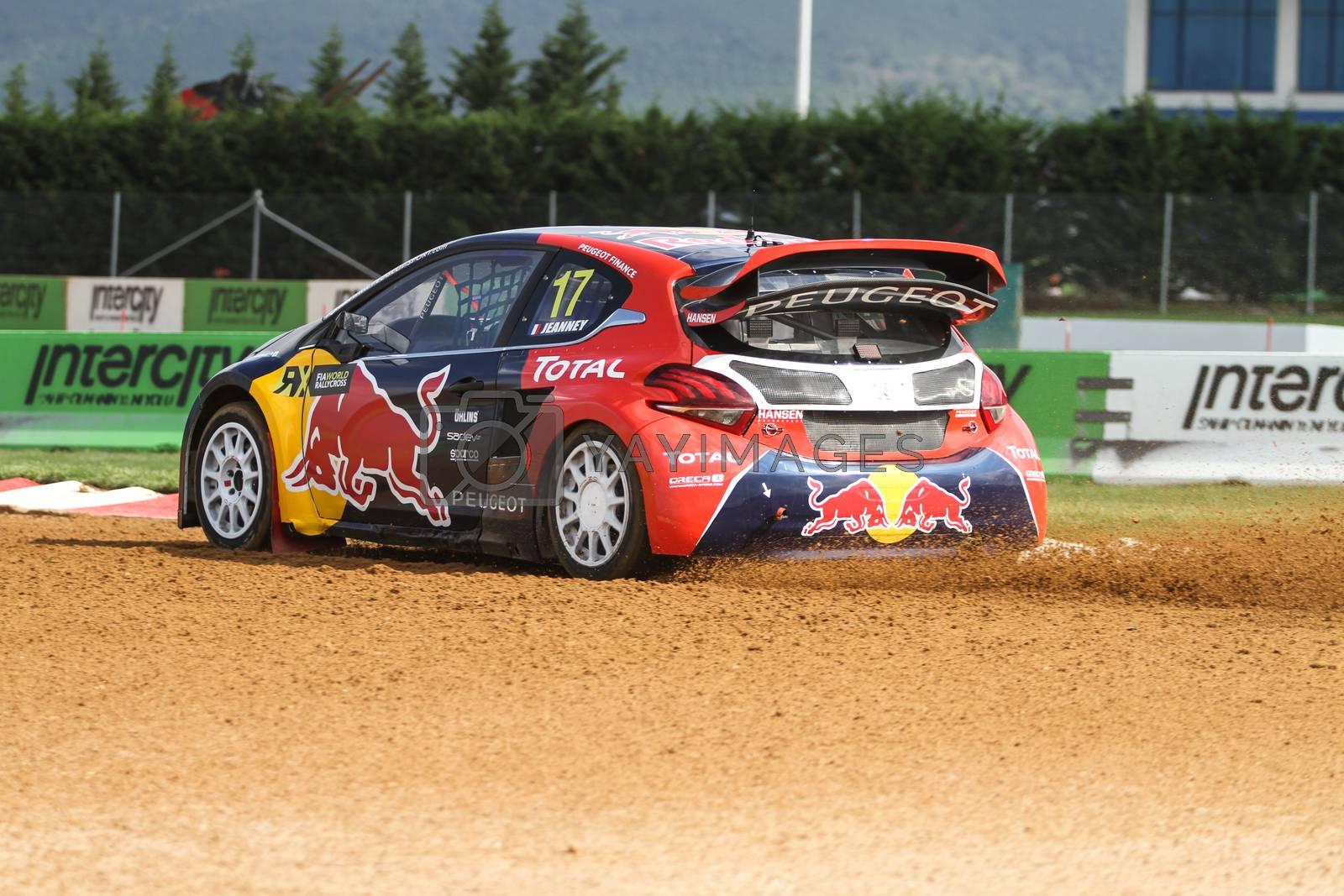 ISTANBUL, TURKEY - OCTOBER 03, 2015: Davy Jeanney drives Peugeot 208 of Team Peugeot Hansen in FIA World Rallycross Championship.