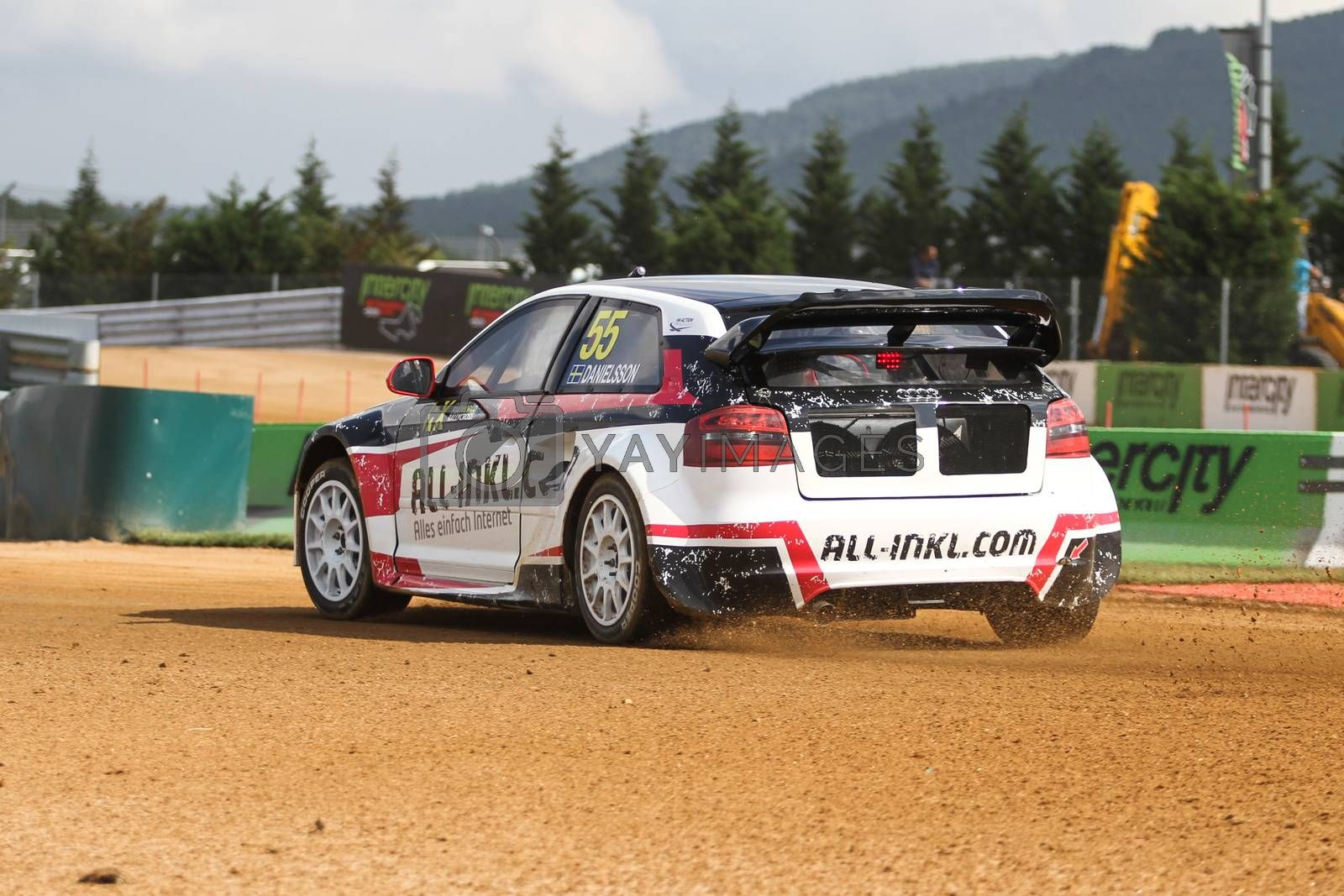 ISTANBUL, TURKEY - OCTOBER 03, 2015: Alx Danielsson drives Audi S3 of all-inkl.com Munnich Motorsport Team in FIA World Rallycross Championship.