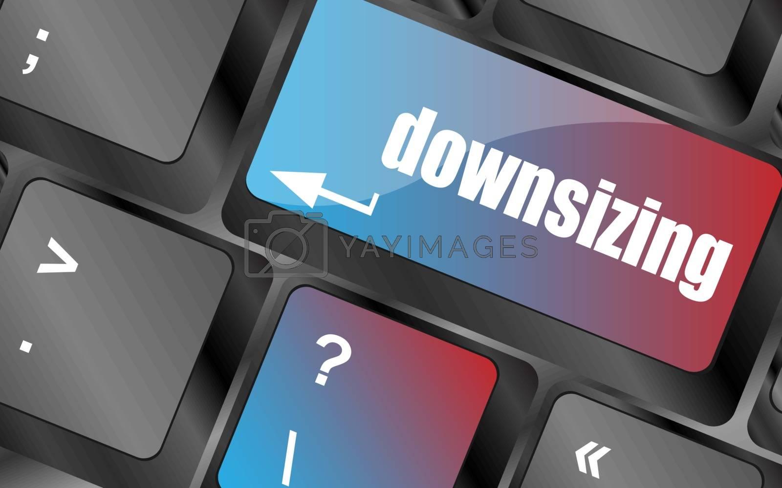 cloud icon with downsizing word on computer keyboard key vector . keyboard keys, keyboard button, keyboard icon