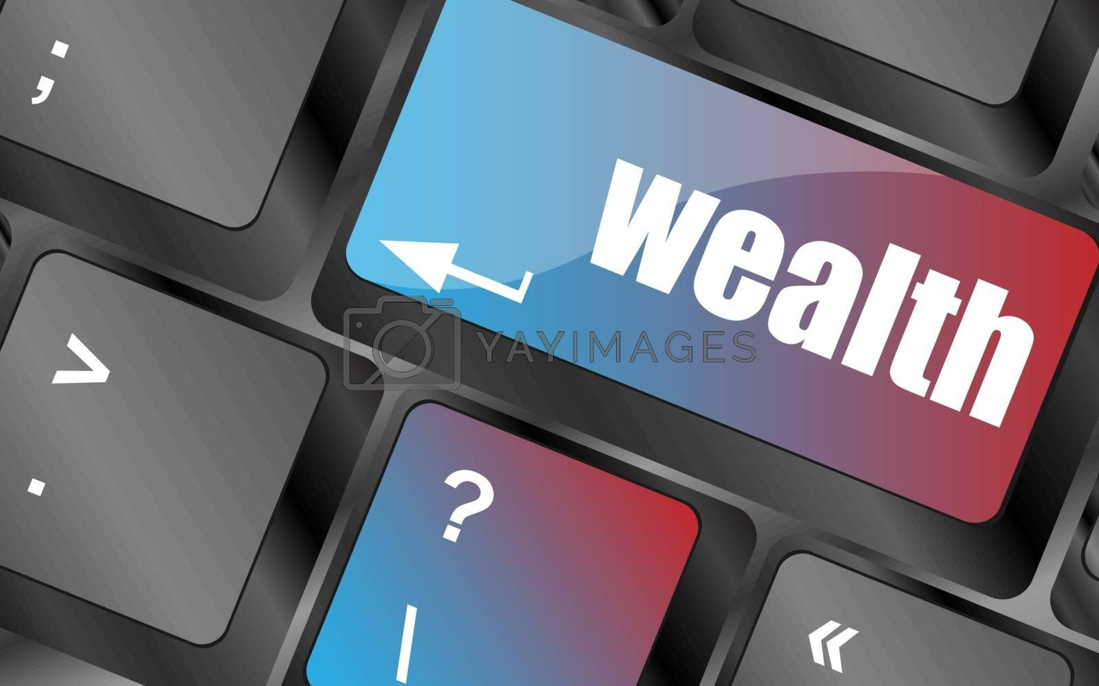 cloud icon with wealth word on computer keyboard key vector . keyboard keys, keyboard button, keyboard icon