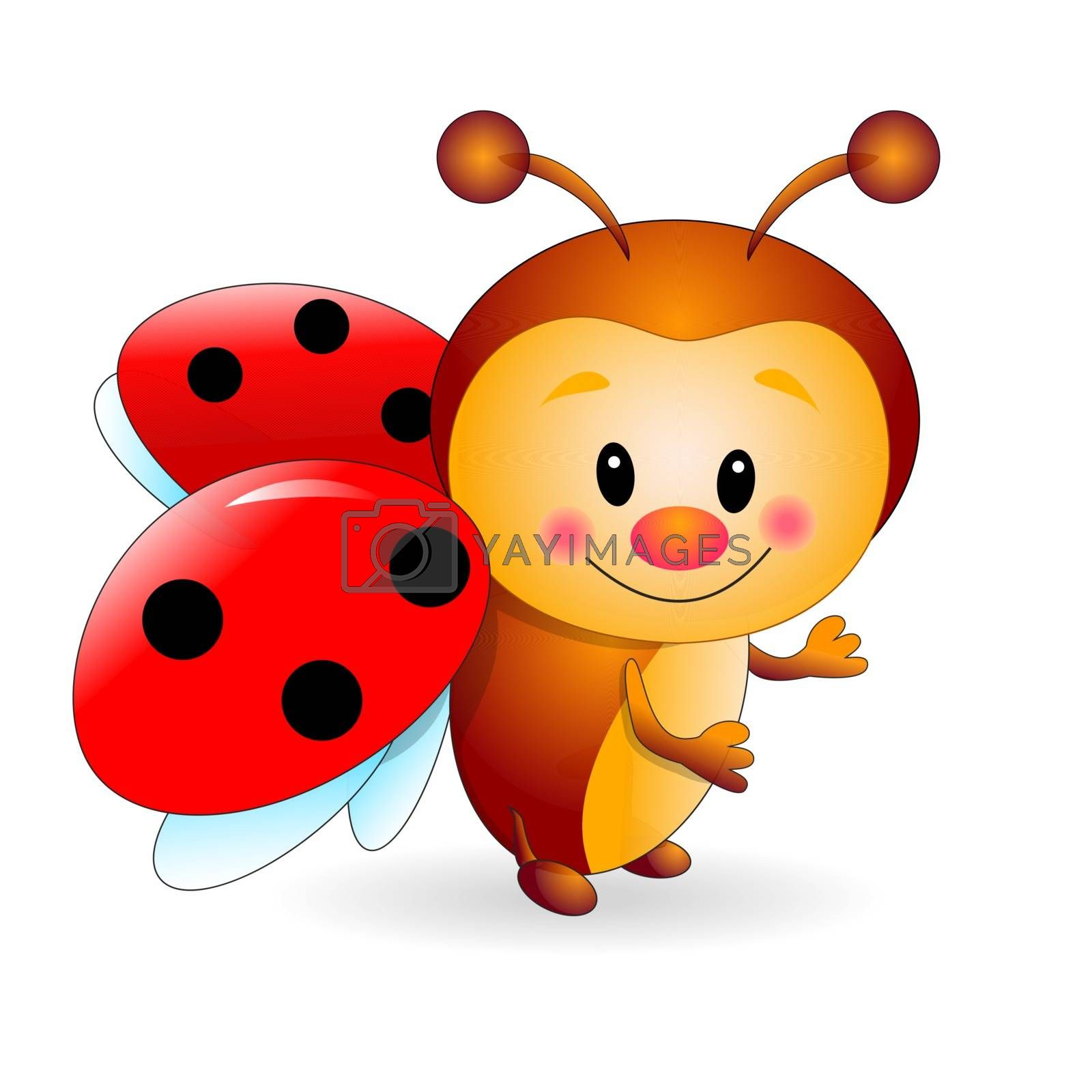 Ladybird  cartoon  on a white background. Cartoon insect red.