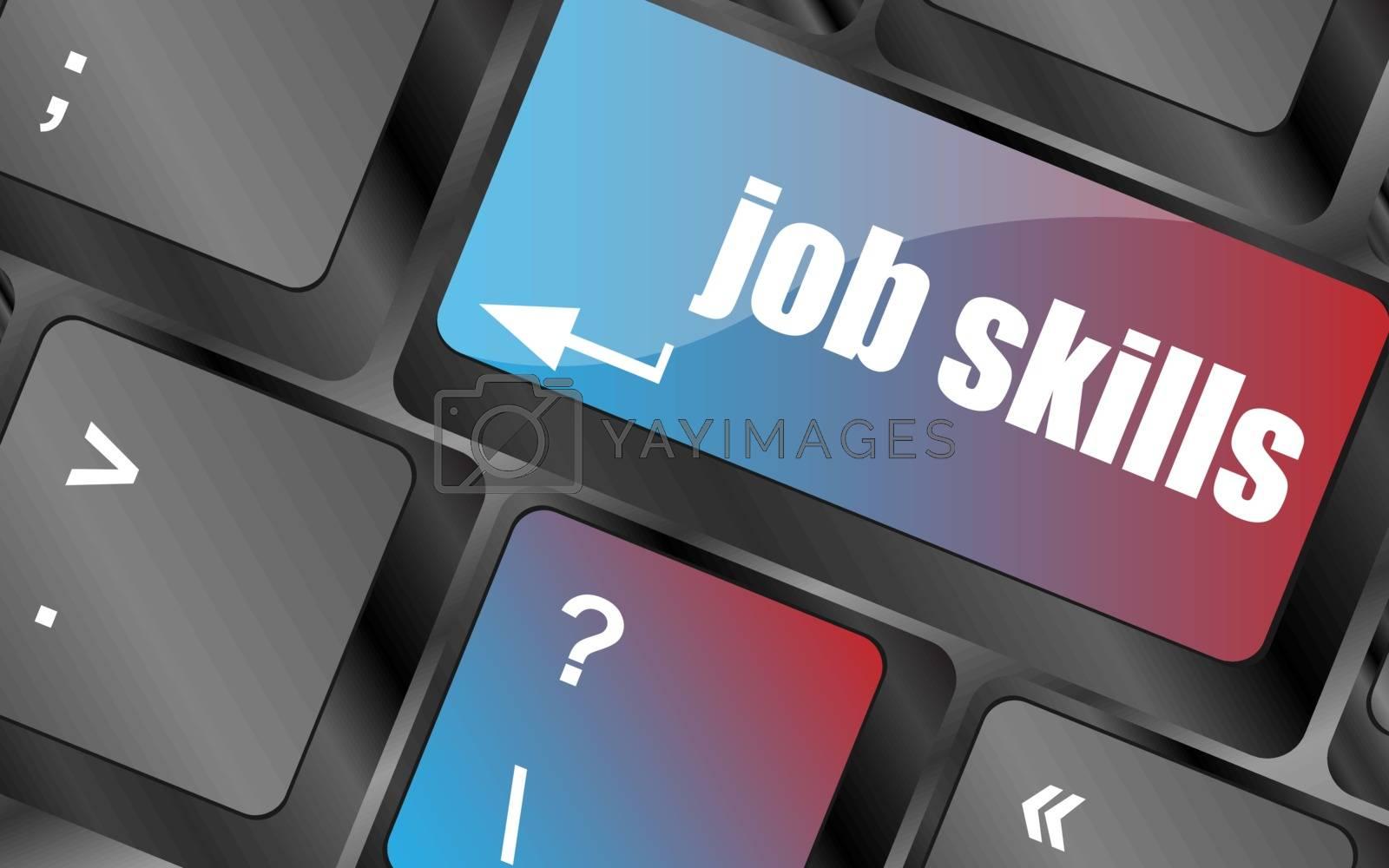 Computer keyboard with job skills key. business concept vector . keyboard keys, keyboard button, keyboard icon