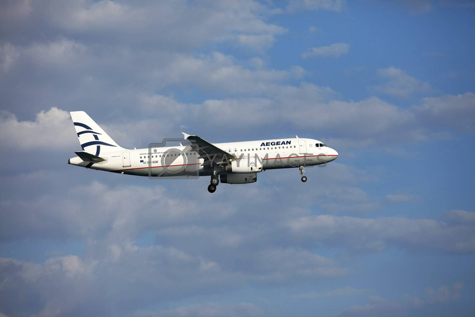 Larnaca, Cyprus - May 29, 2016: Aegean Airlines Airbus A320 lands at Larnaca International Airport. It is the largest Greek airline