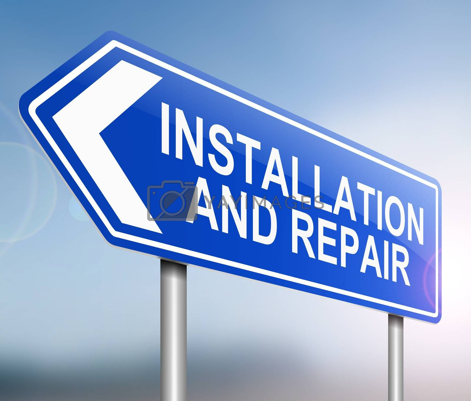 Illustration depicting a sign with an installation and repair concept.