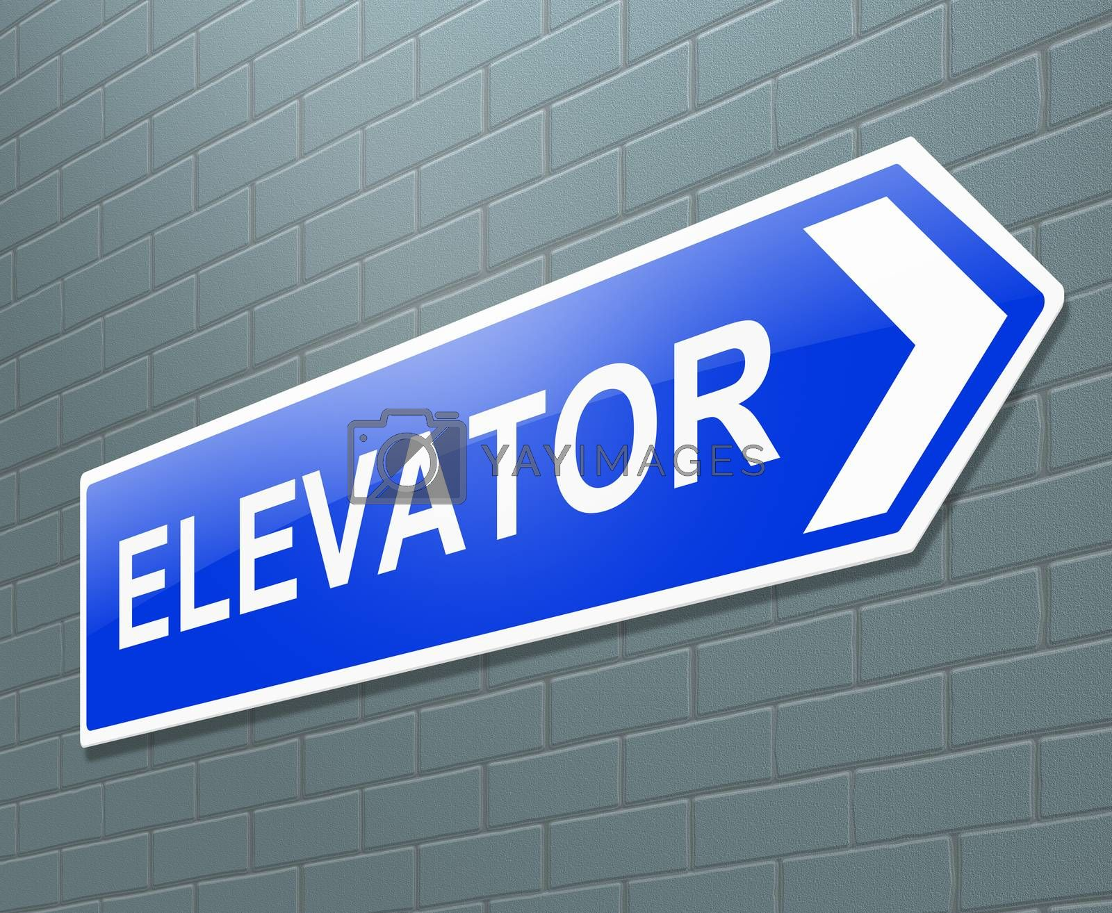 Illustration depicting a sign with an elevator concept.