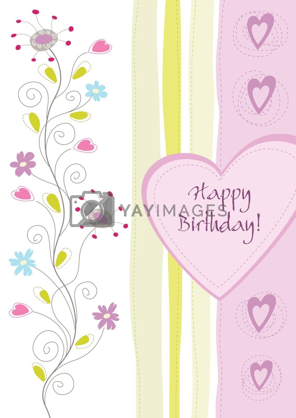 Happy birthday floral greeting card. This image is a vector illustration.