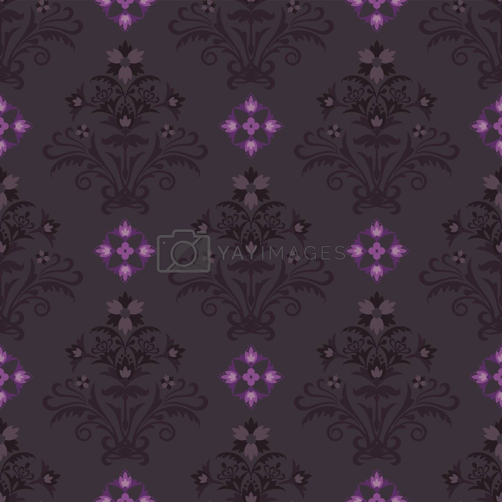 Seamless brown and pink wallpaper. This image is a vector illustration.