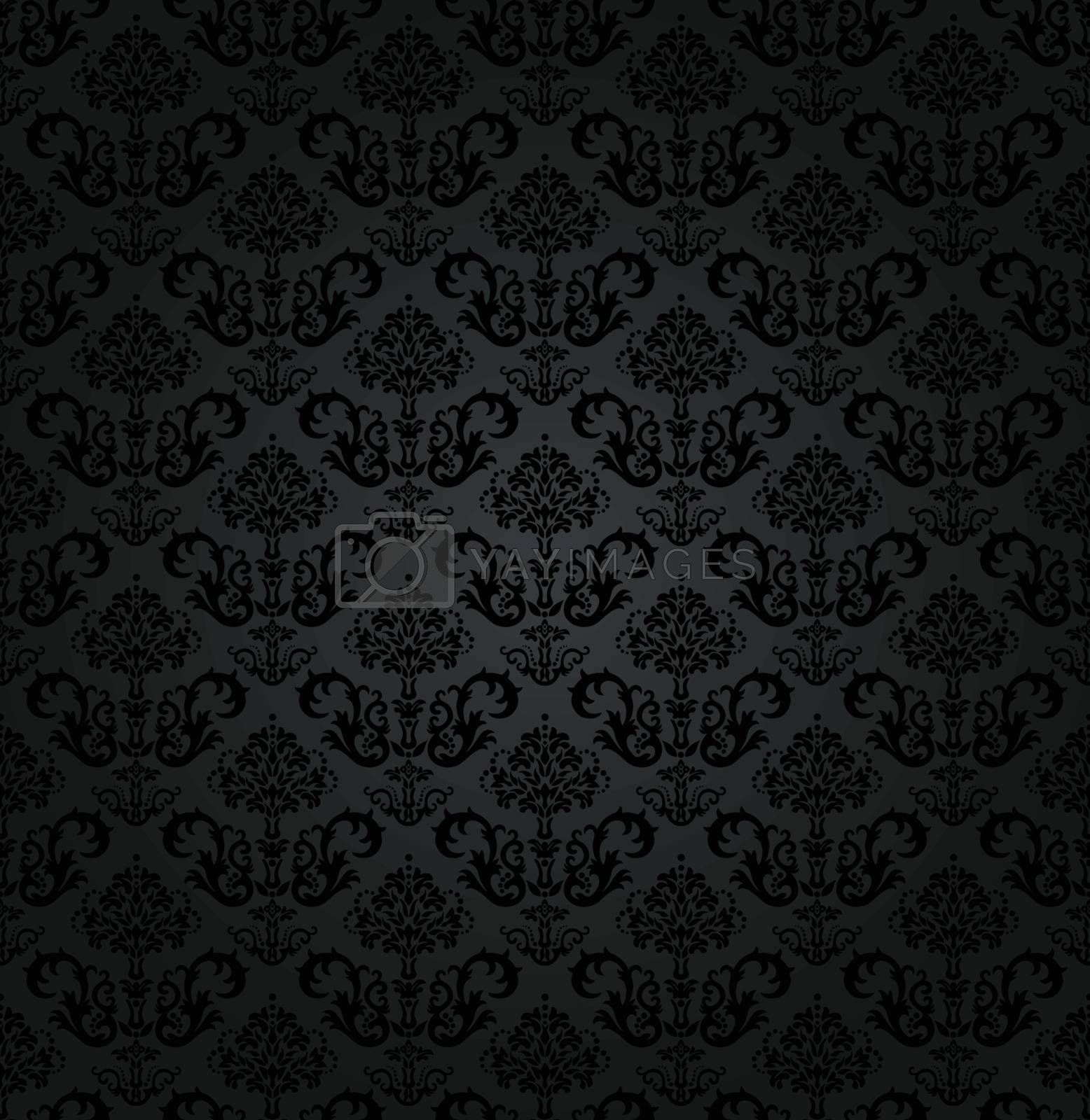 Seamless charcoal small floral elements wallpaper. This image is a vector illustration.