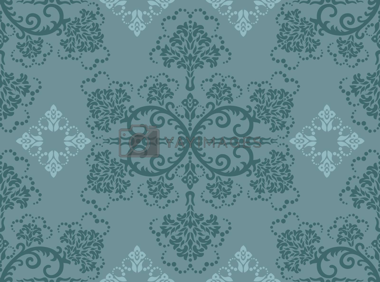 Seamless turquoise floral wallpaper pattern. This image is a vector illustration.