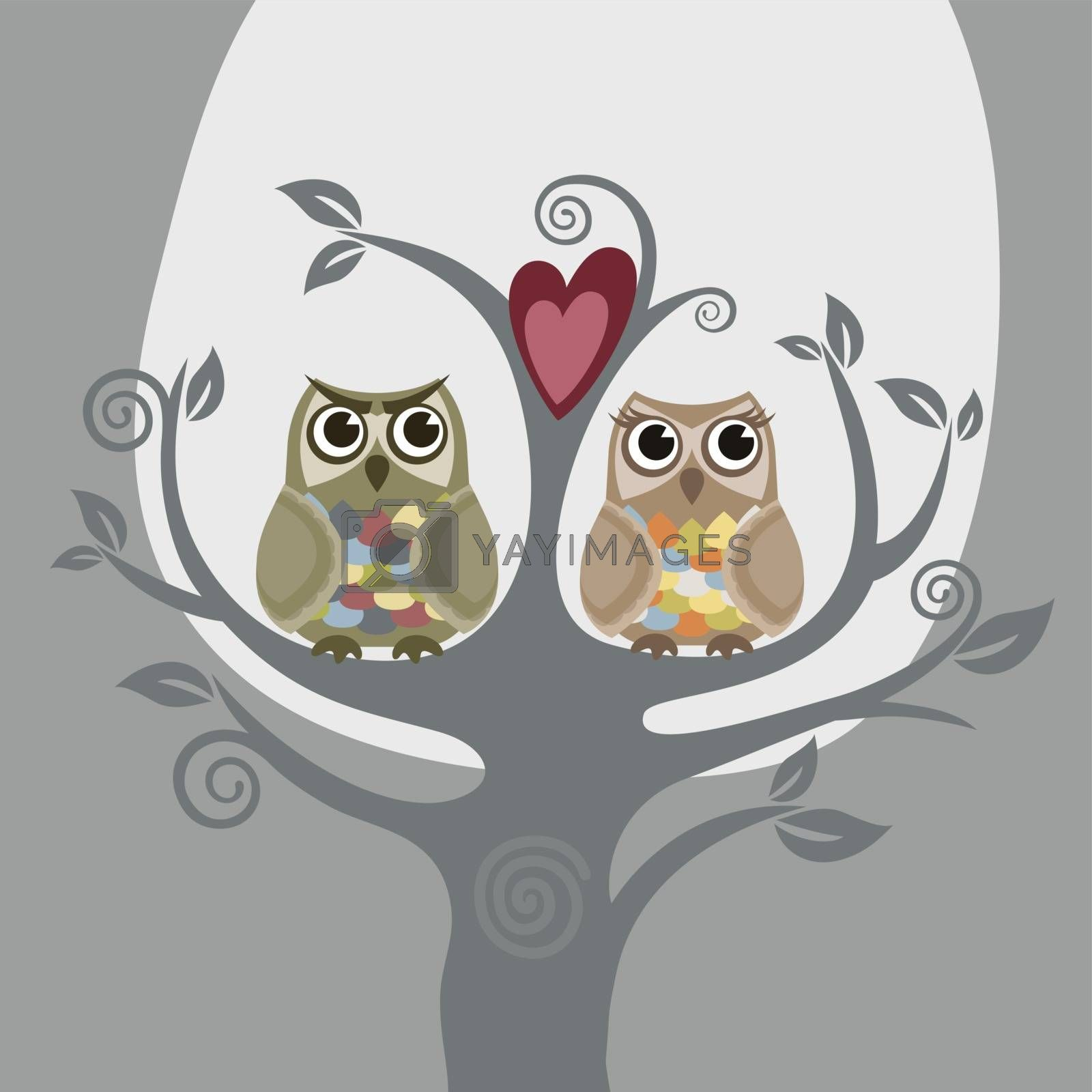 Two owls and love tree greeting card. This image is a vector illustration.