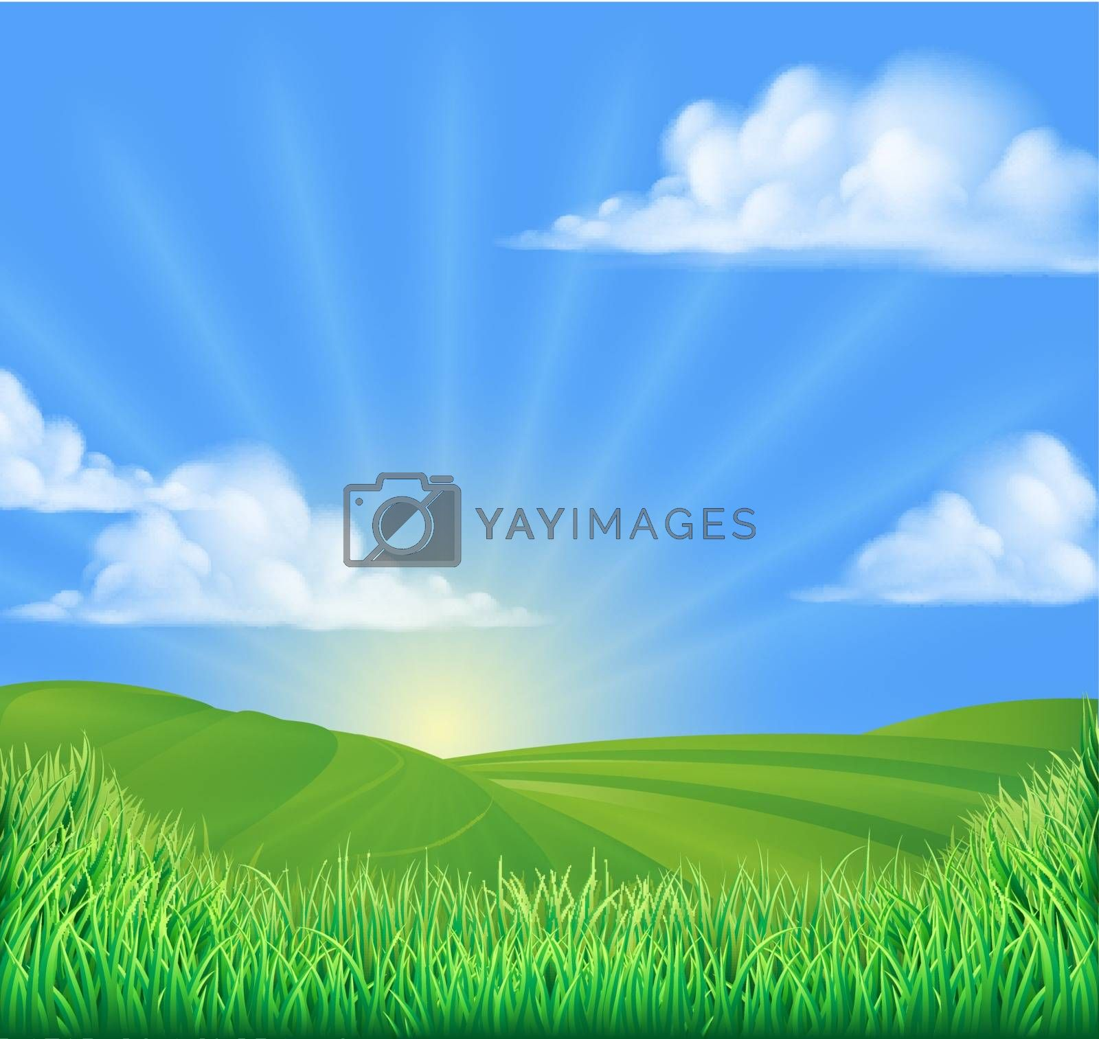 A rolling hills field sun background landcape illustration