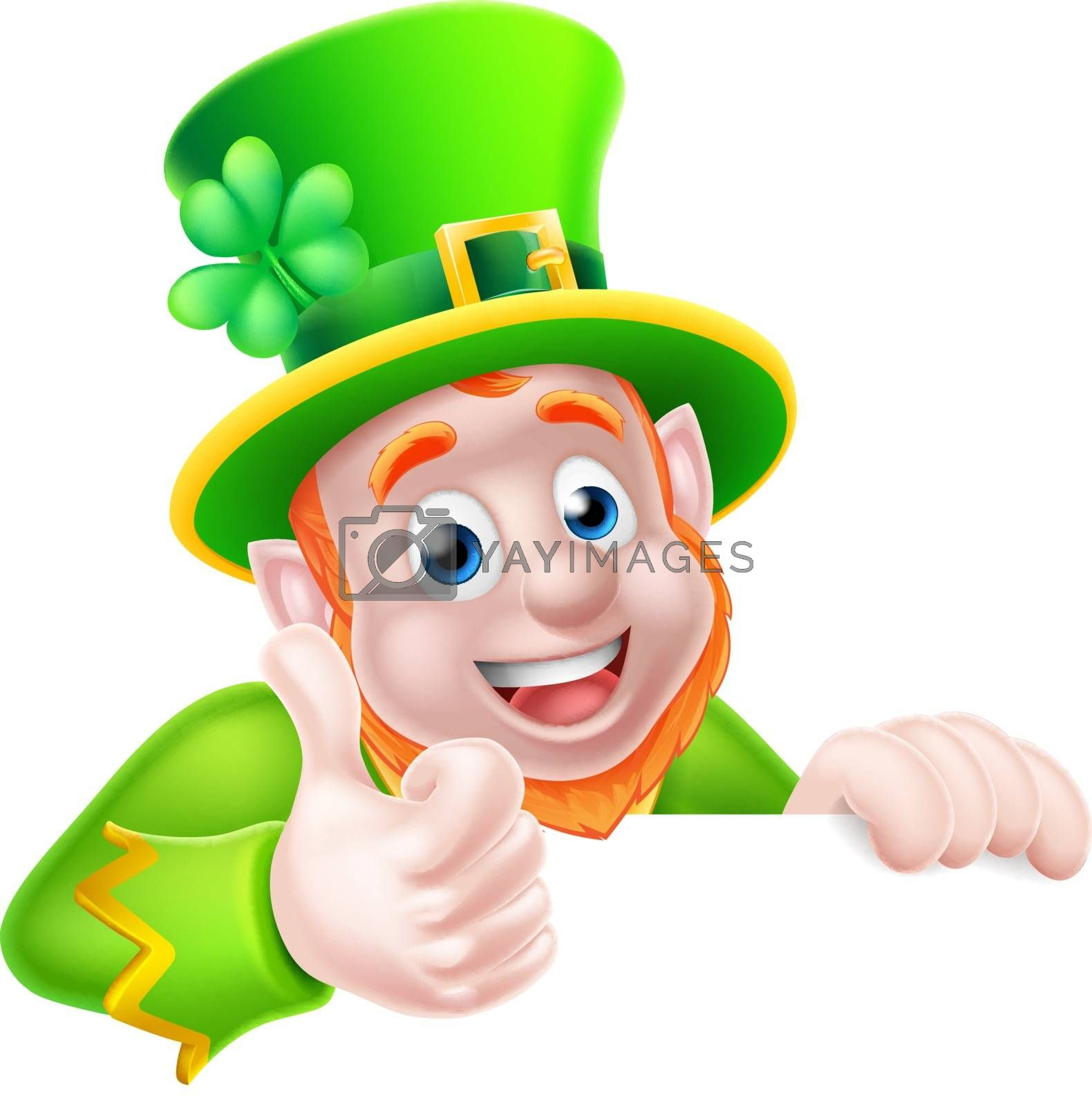 Leprechaun cartoon character peeking above a sign and giving a thumbs up