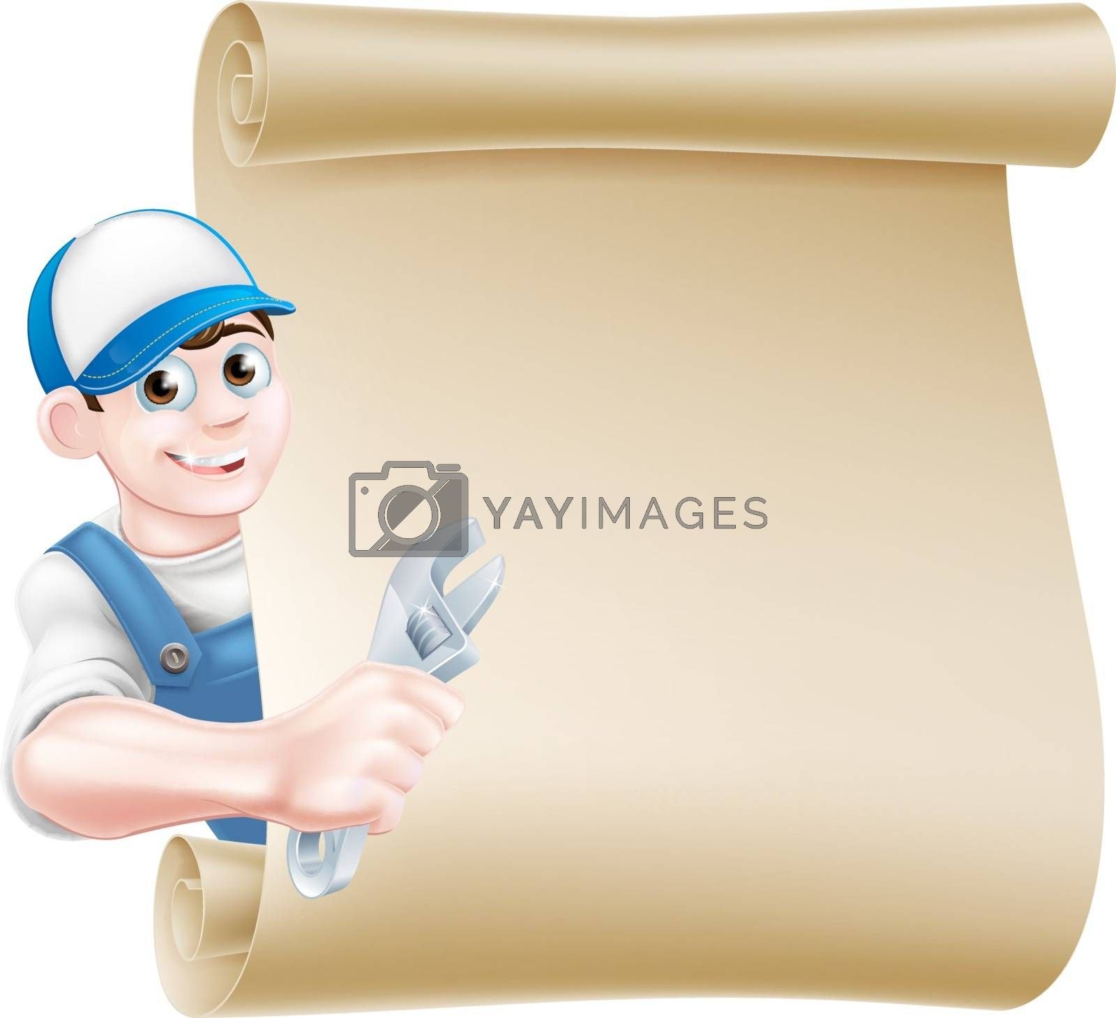 Cartoon plumber or auto repair mechanic service handyman worker man holding a spanner or wrench scroll