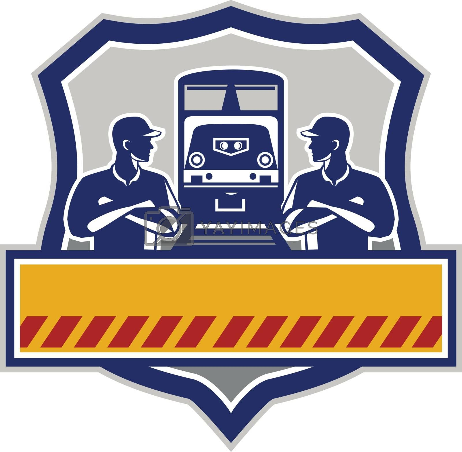 Illustration of train engineers with arms crossed looking at each other with diesel train on rail tracks in the background set inside shield crest done in retro style.
