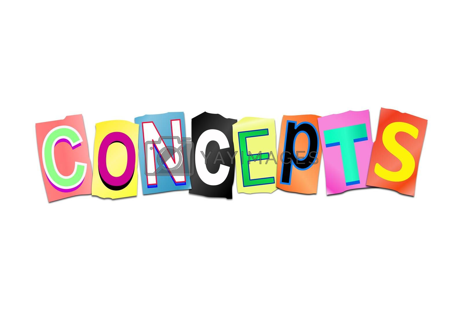 Illustration depicting a set of cut out printed letters arranged to form the word concept.