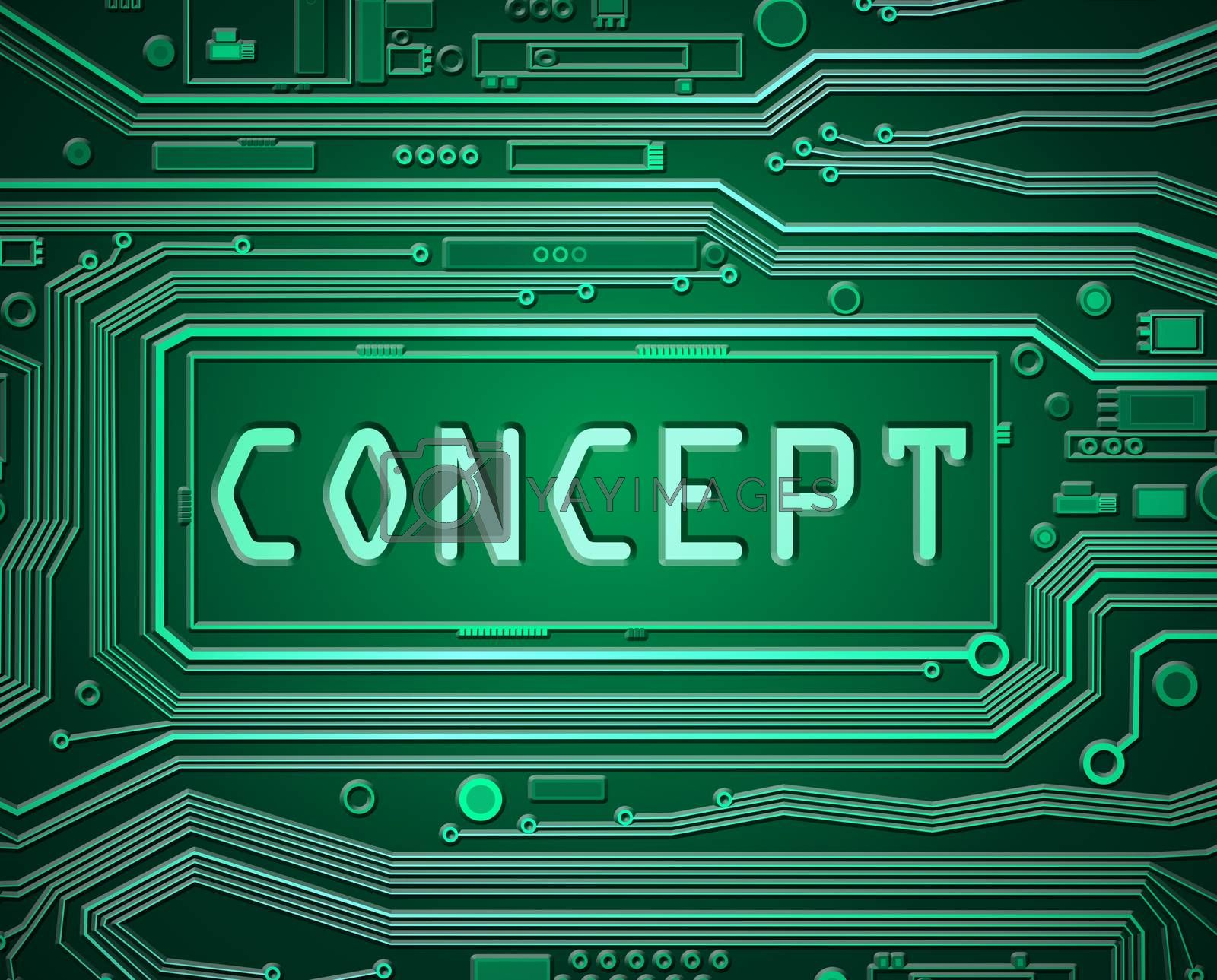 Abstract style illustration depicting printed circuit board components with the word concept.