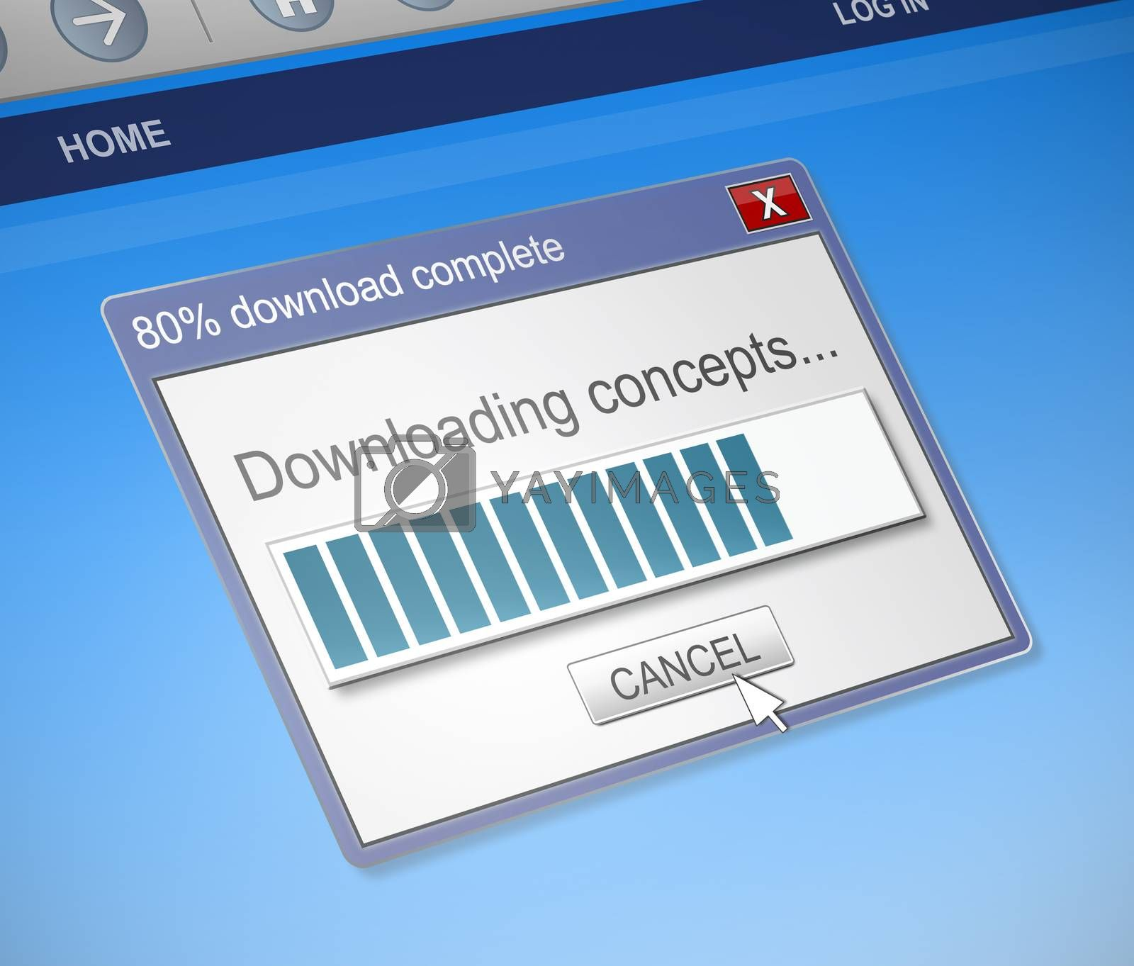 Illustration depicting a computer downloading concepts.