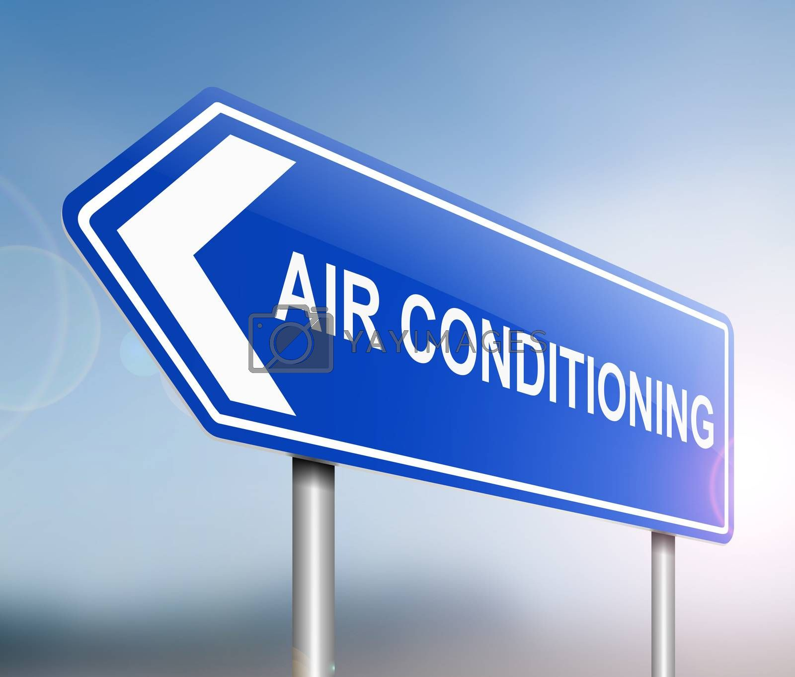 Illustration depicting a sign with an air conditioning concept.