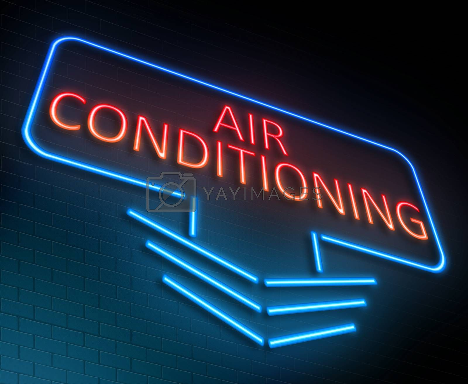 Illustration depicting an illuminated neon sign with an air conditioning concept.