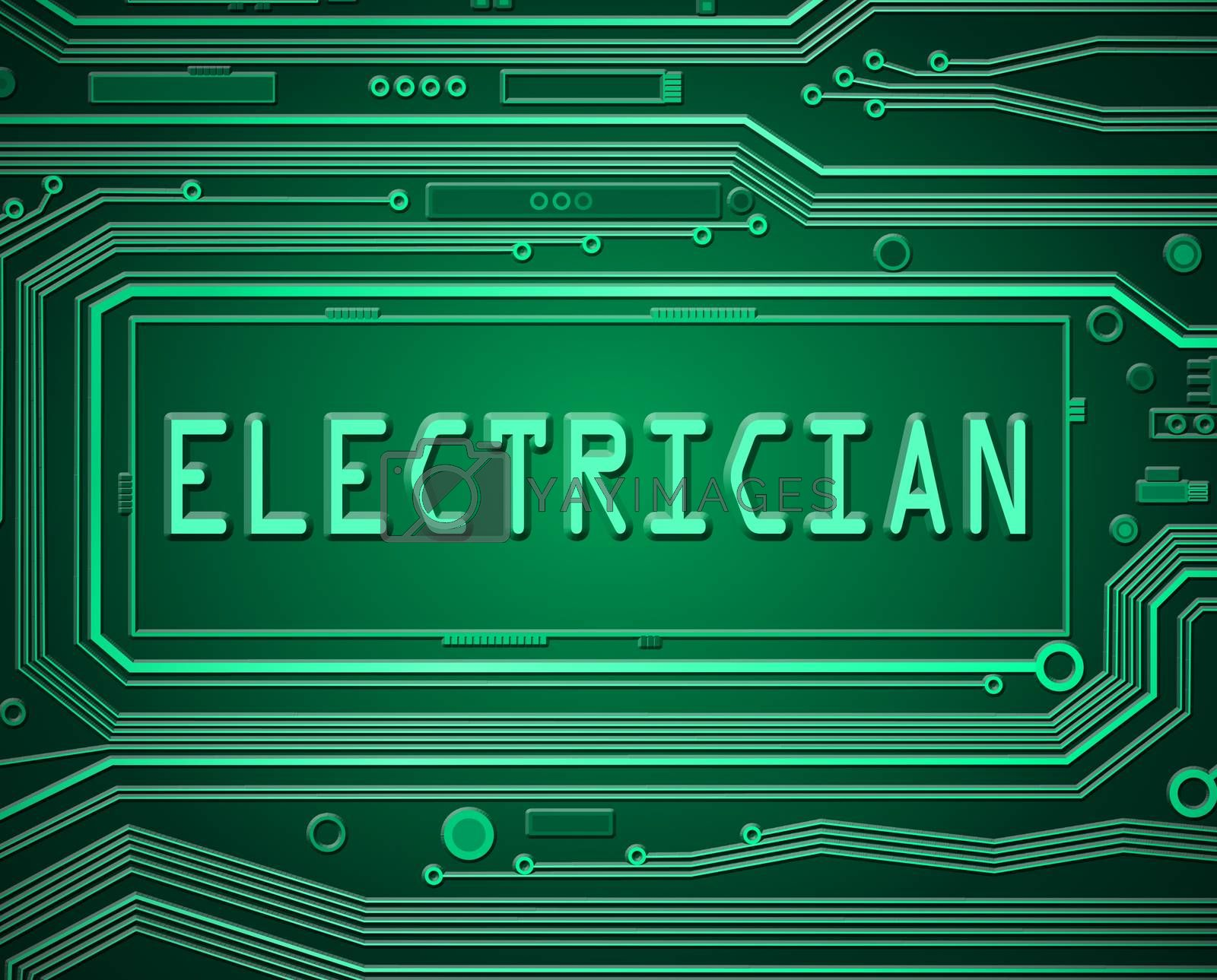 Abstract style illustration depicting printed circuit board components with an electrician concept.