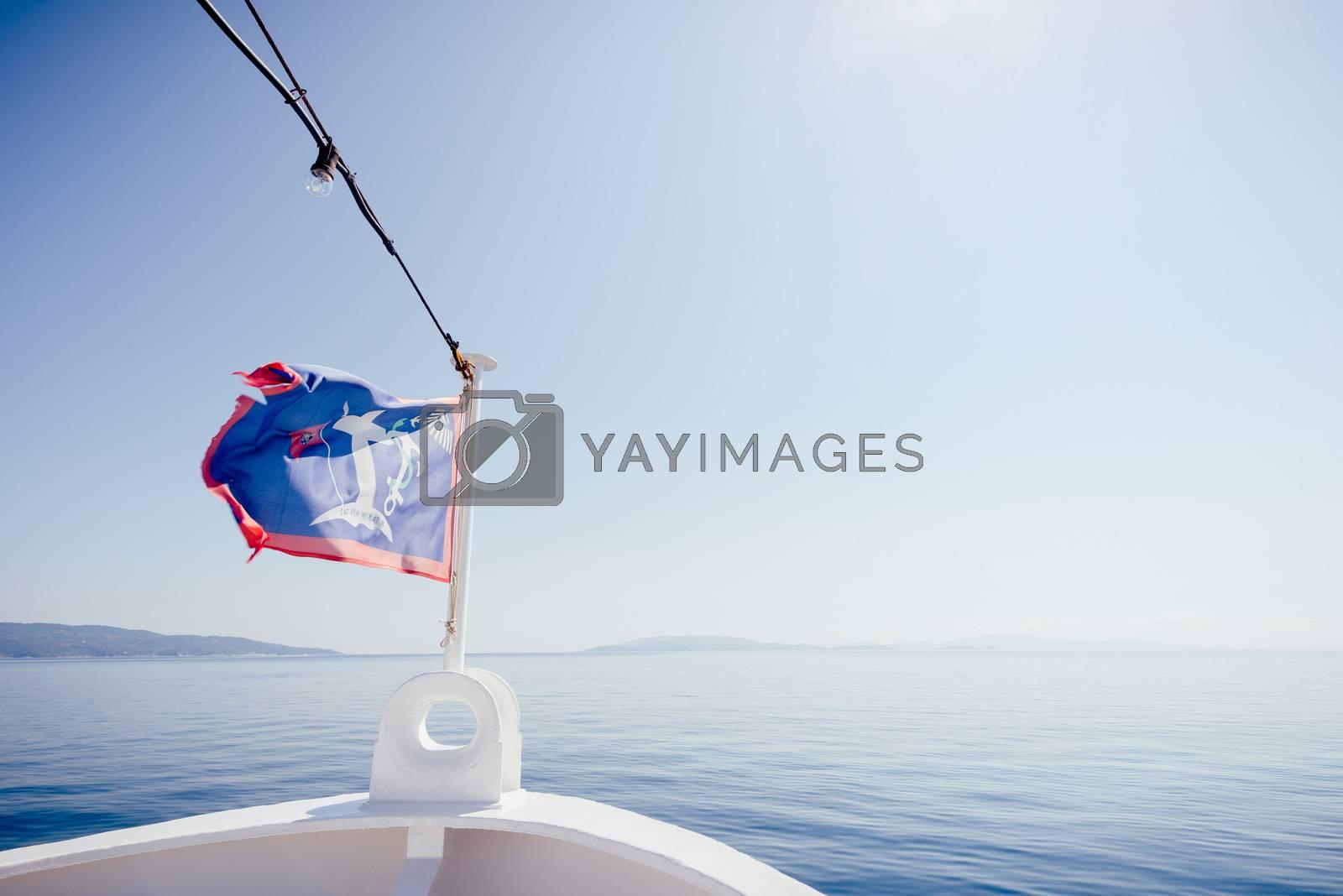 Travel through the sea      Boat at the seashore