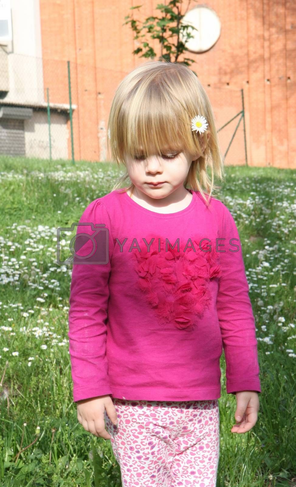 Young girl standing in the the meadow of dandelion