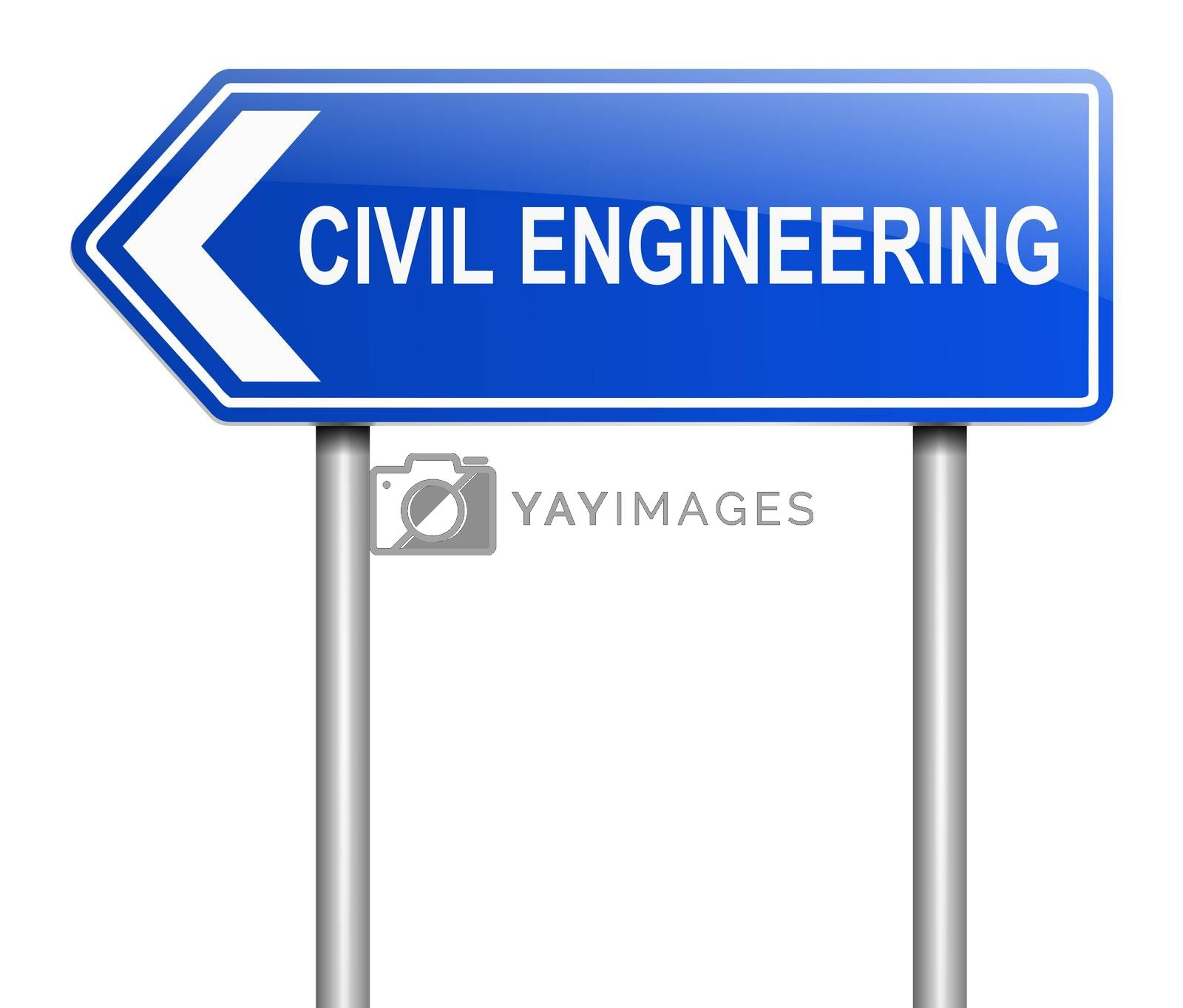 Illustration depicting a sign with a civil engineering concept.