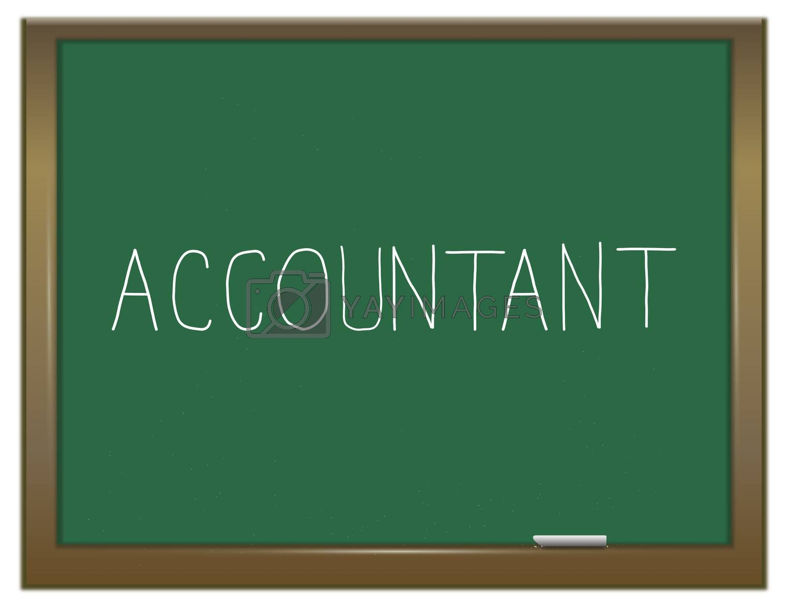 Illustration depicting a green chalkboard with an accountant concept.