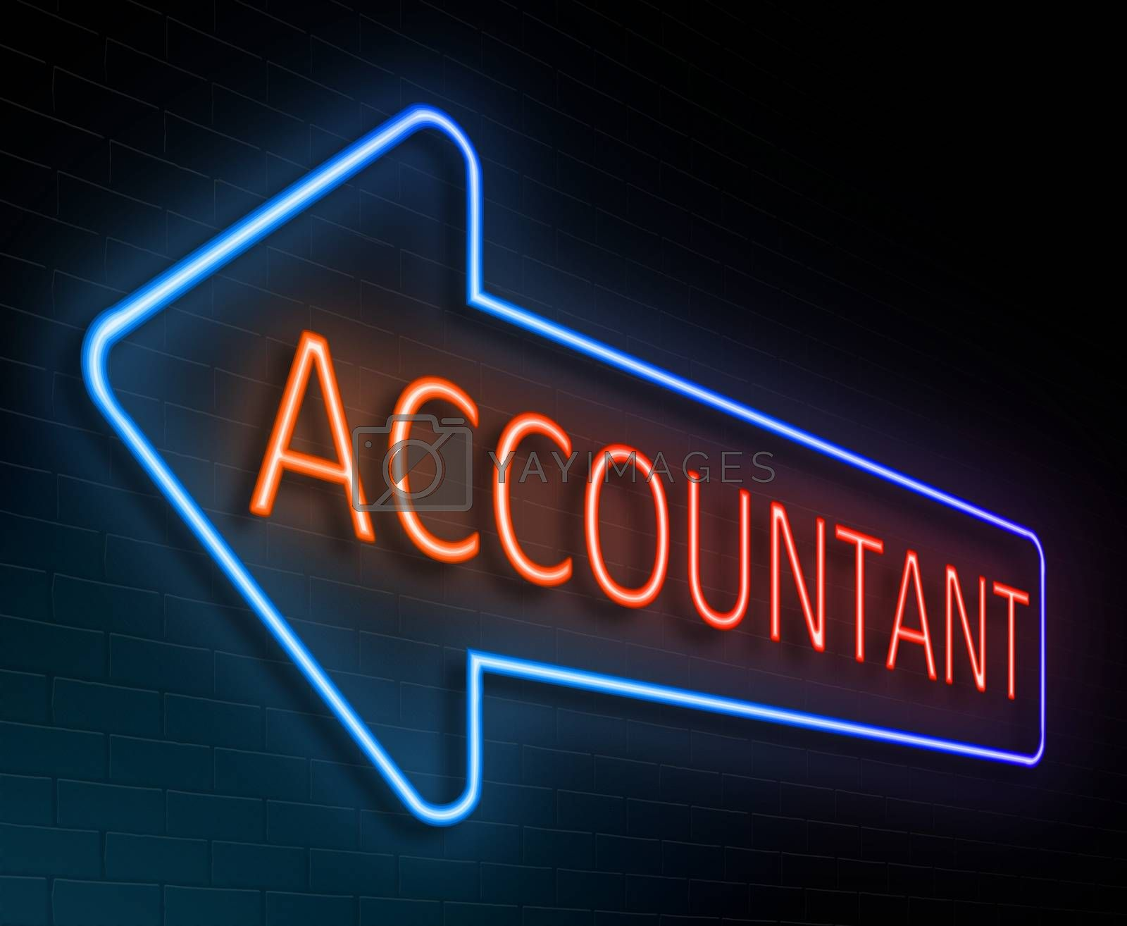 Illustration depicting an illuminated neon sign with an accountant concept.