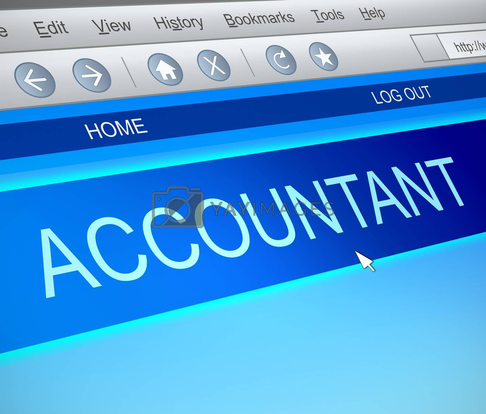 Illustration depicting a computer screen capture with an accountant concept.