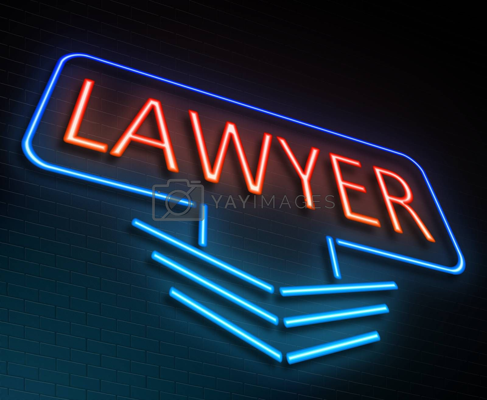 Illustration depicting an illuminated neon sign with a lawyer concept.