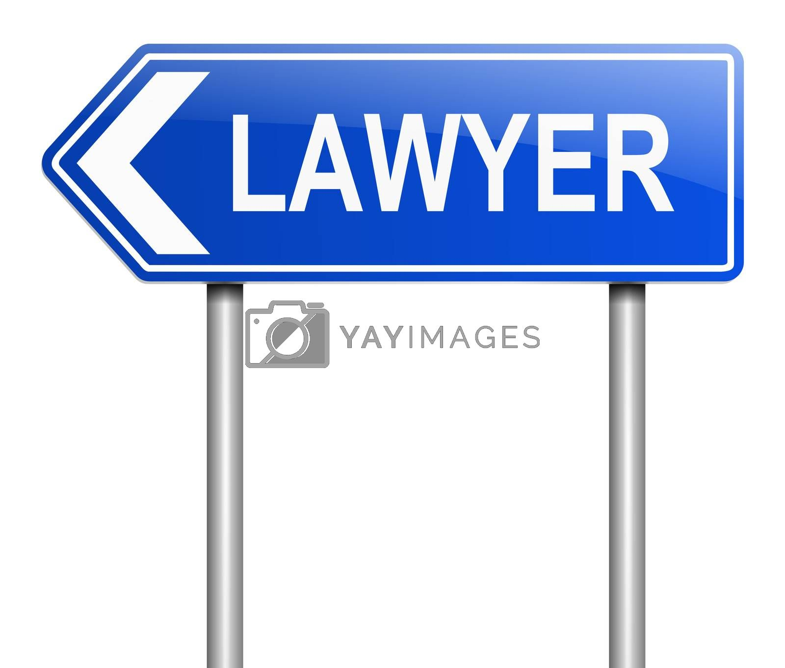 Illustration depicting a sign with a lawyer concept.