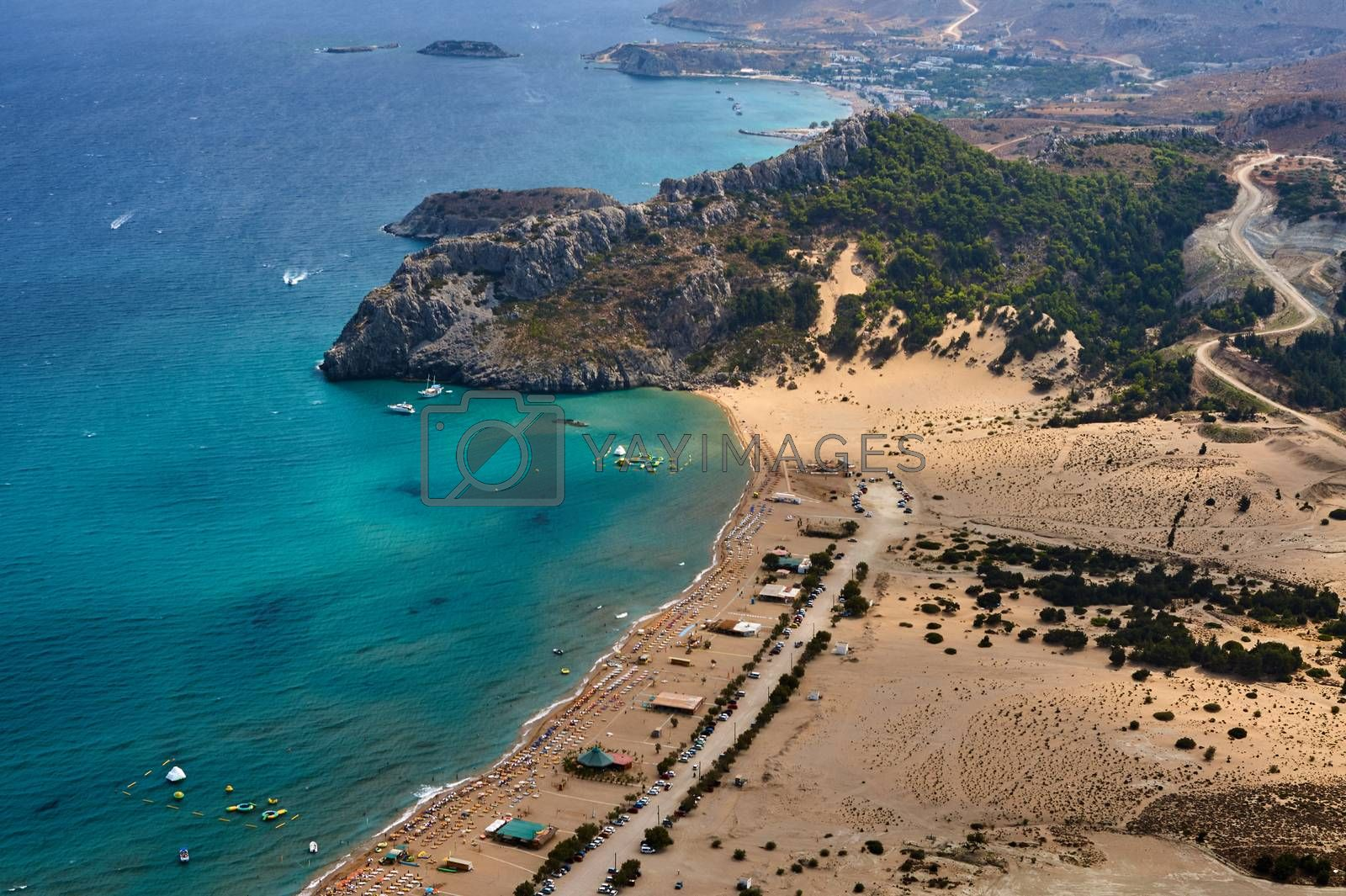 People on the beach on the Mediterranean Sea on the island of Rhodes