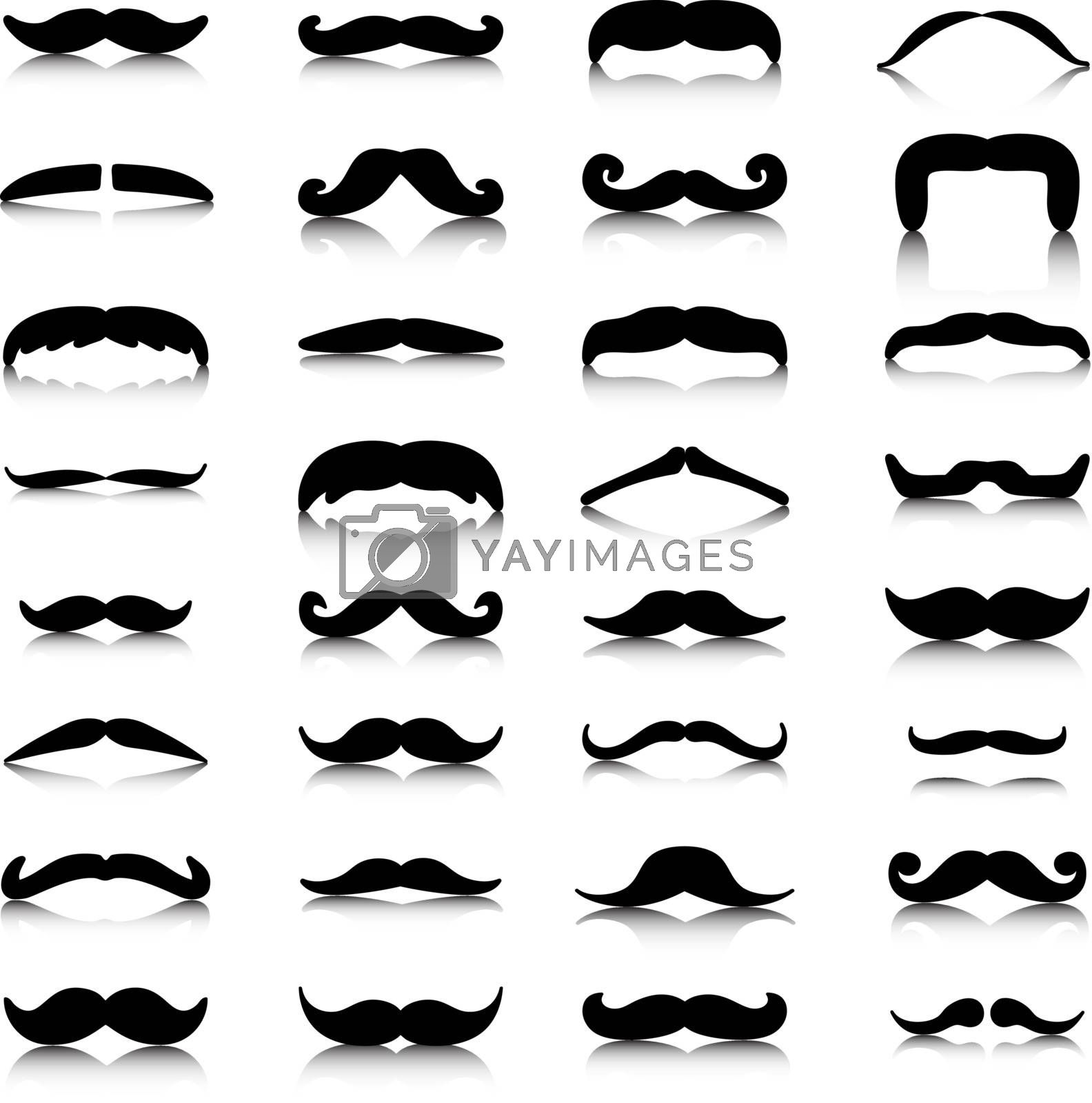 Mustaches icons set. Mustache logo. Mustache silhoutte and shadows. Isolated icons. Vector illustration, EPS 10