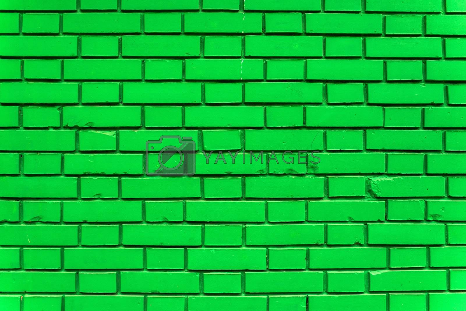 Green exterior brick wall texture, urban background