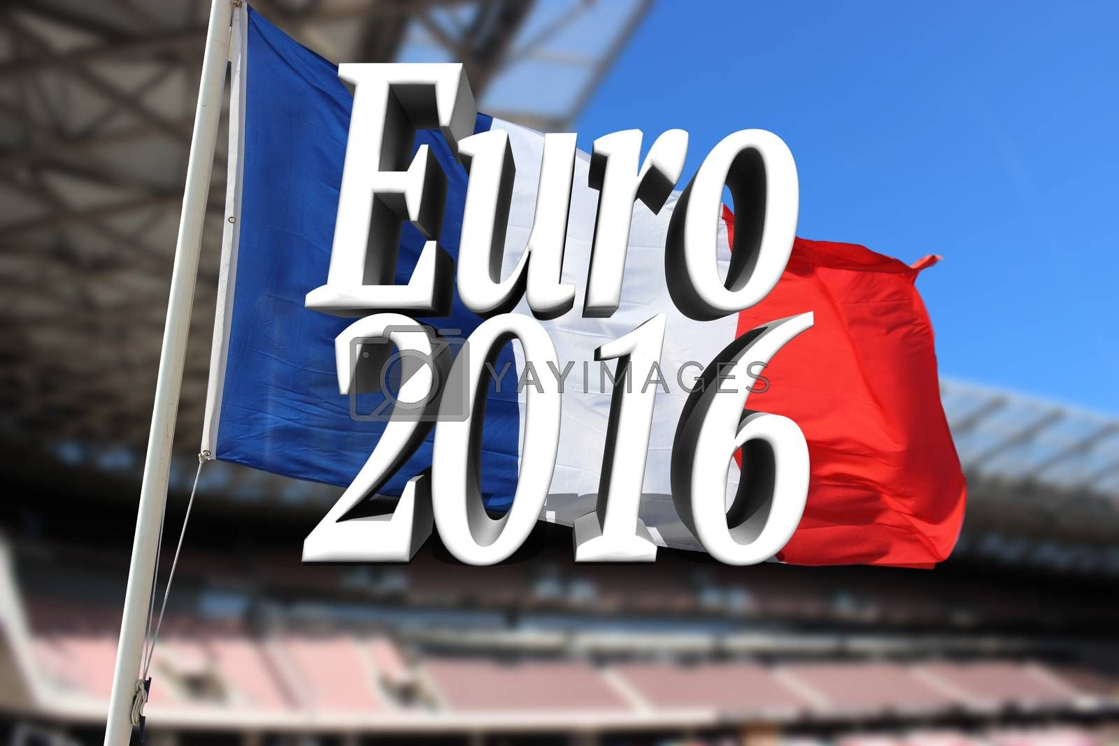 Euro 2016 France Football Championship. French Flag and Soccer Stadium in the Background