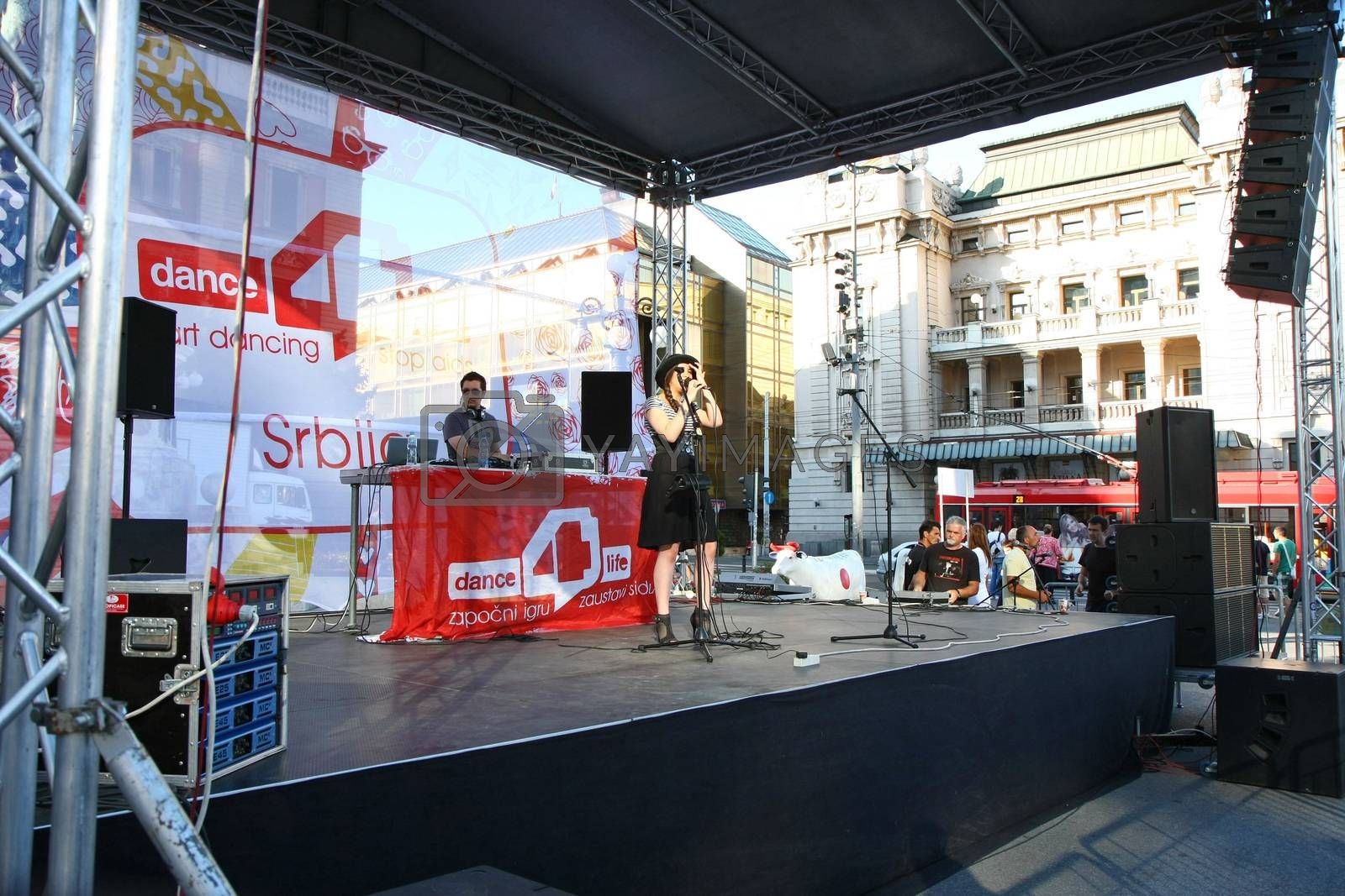 BELGRADE,SERBIA-AUGUST 12, 2011:Zoe,singer of the band Zemlja gruva at the event dedicated to fighting AIDS under the name Dance4life