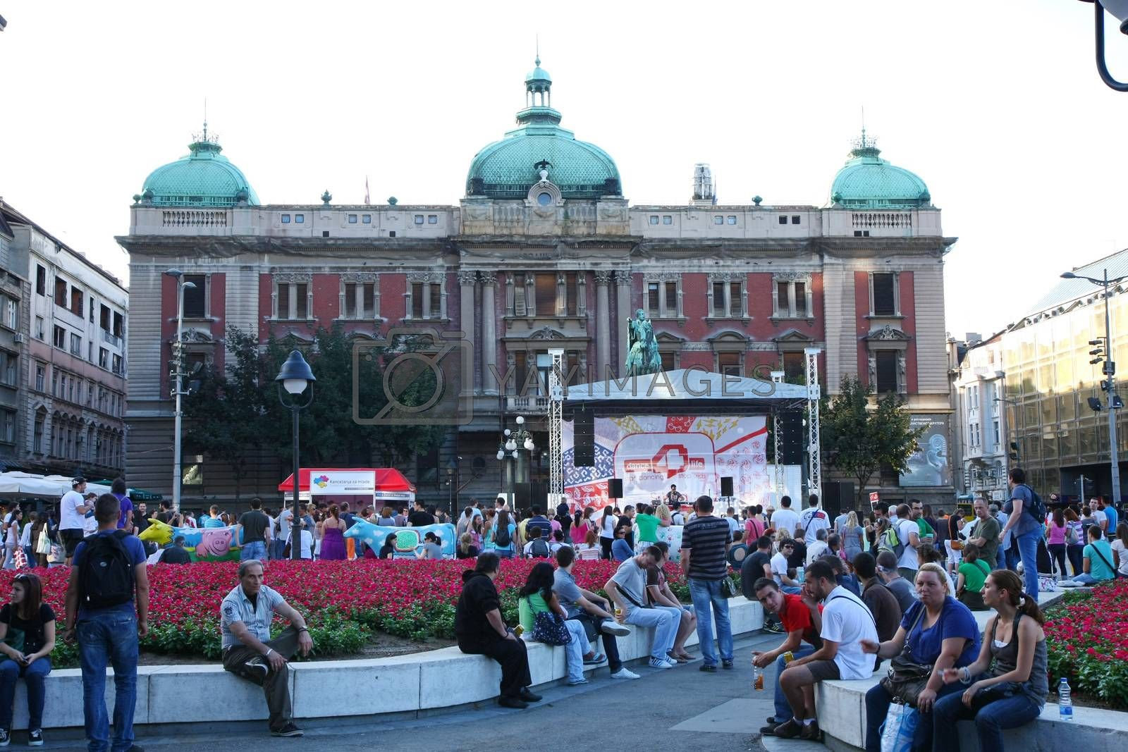 BELGRADE,SERBIA-AUGUST 12, 2011 : Visitors at the event dedicated to fighting AIDS under the name Dance4life