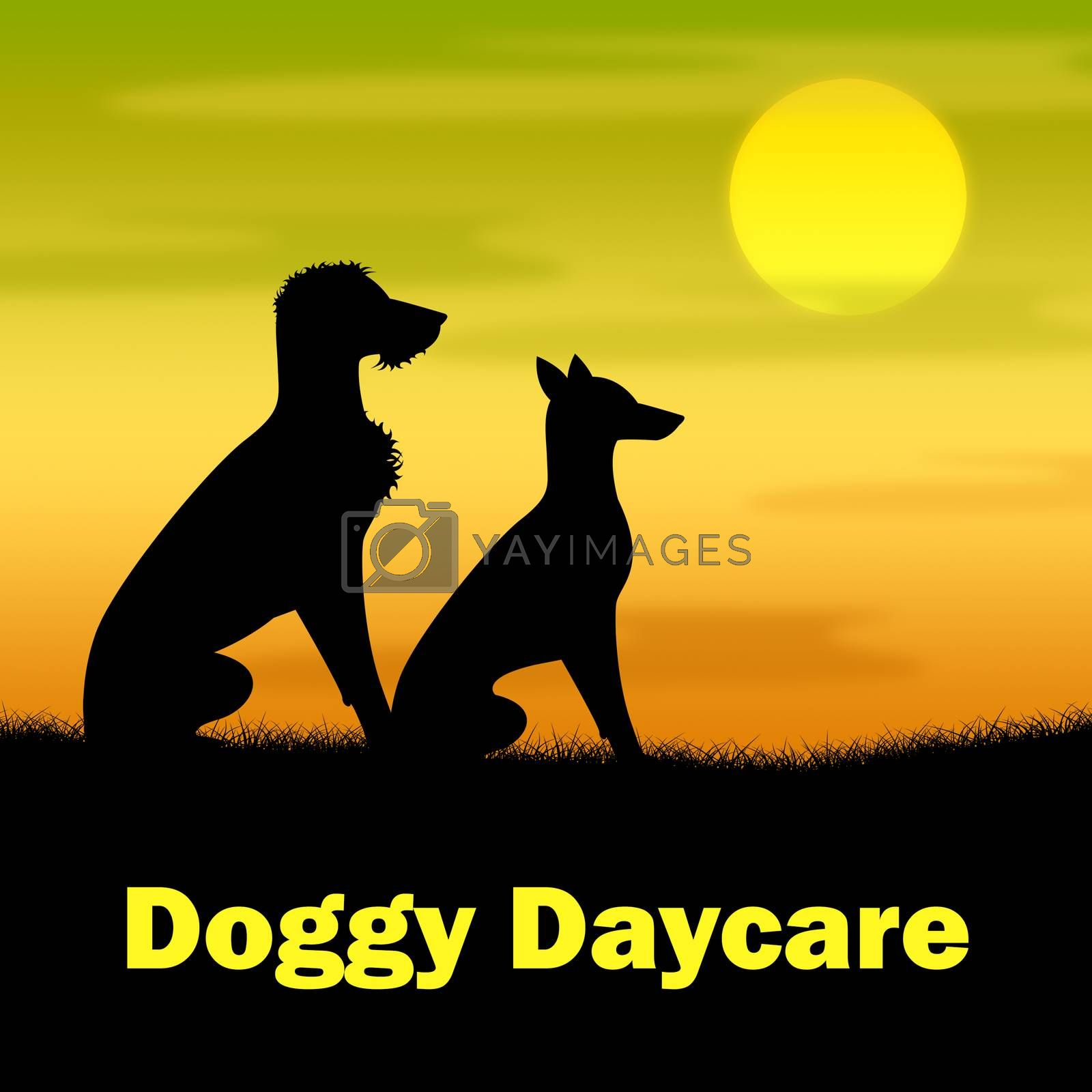 Doggy Daycare Indicating Grassy Canines And Night