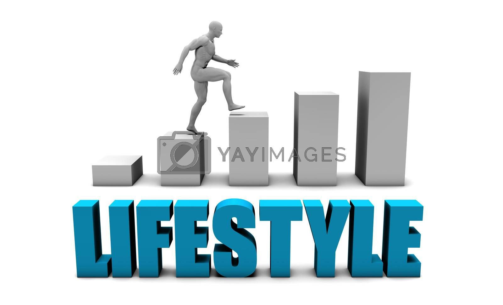 Lifestyle 3D Concept  in Blue with Bar Chart Graph