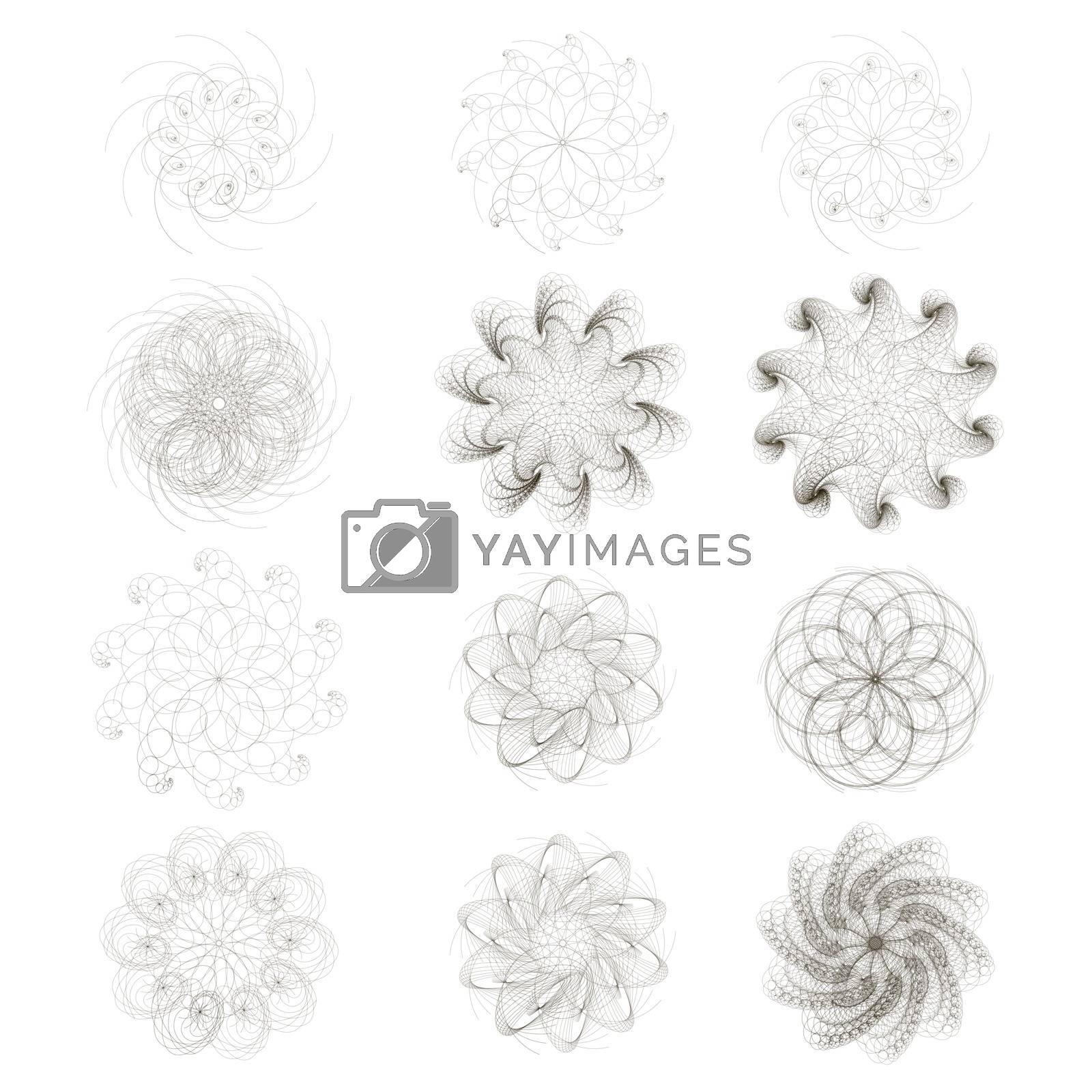 Set of decorative symbols. Set circular patter. Circular design elements. Abstract pattern.