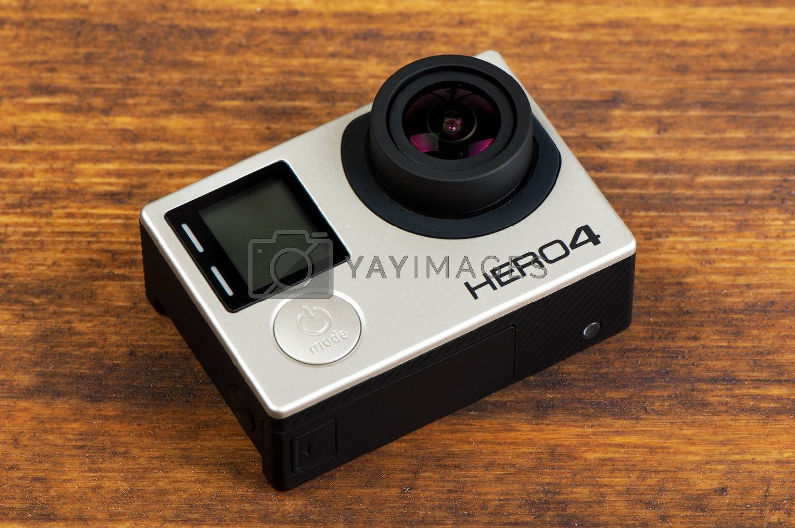 NOVI SAD, SERBIA - JUNE 19, 2016: GoPro Hero 4 Black waterproof action camera announced in september 2014 is able to capture 4k uhd footage, illustrative editorial