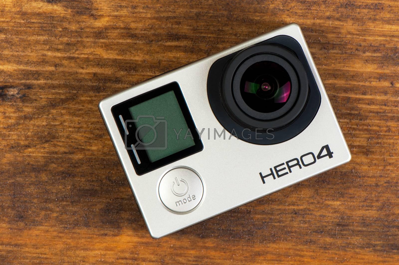 NOVI SAD, SERBIA - JUNE 19, 2016: GoPro Hero 4 Black waterproof action camera announced in september 2014, illustrative editorial