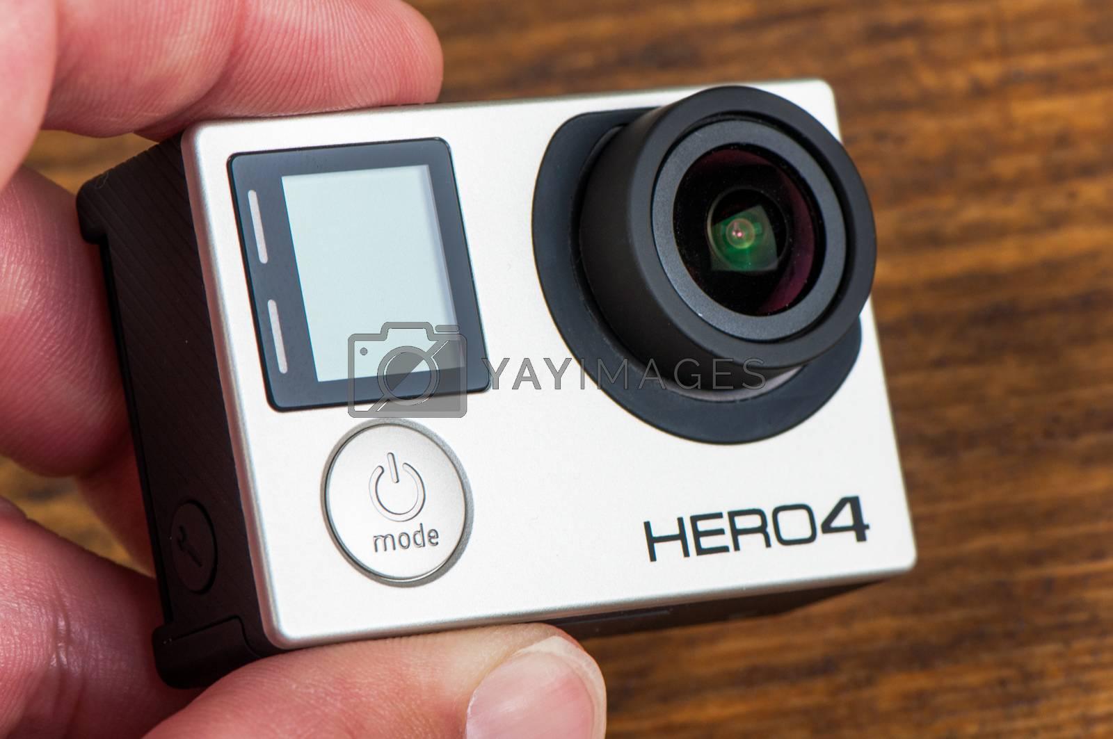 NOVI SAD, SERBIA - JUNE 19, 2016: GoPro Hero 4 Black waterproof action camera announced in september 2014 captures slow motion at up to 240 frames per second, illustrative editorial