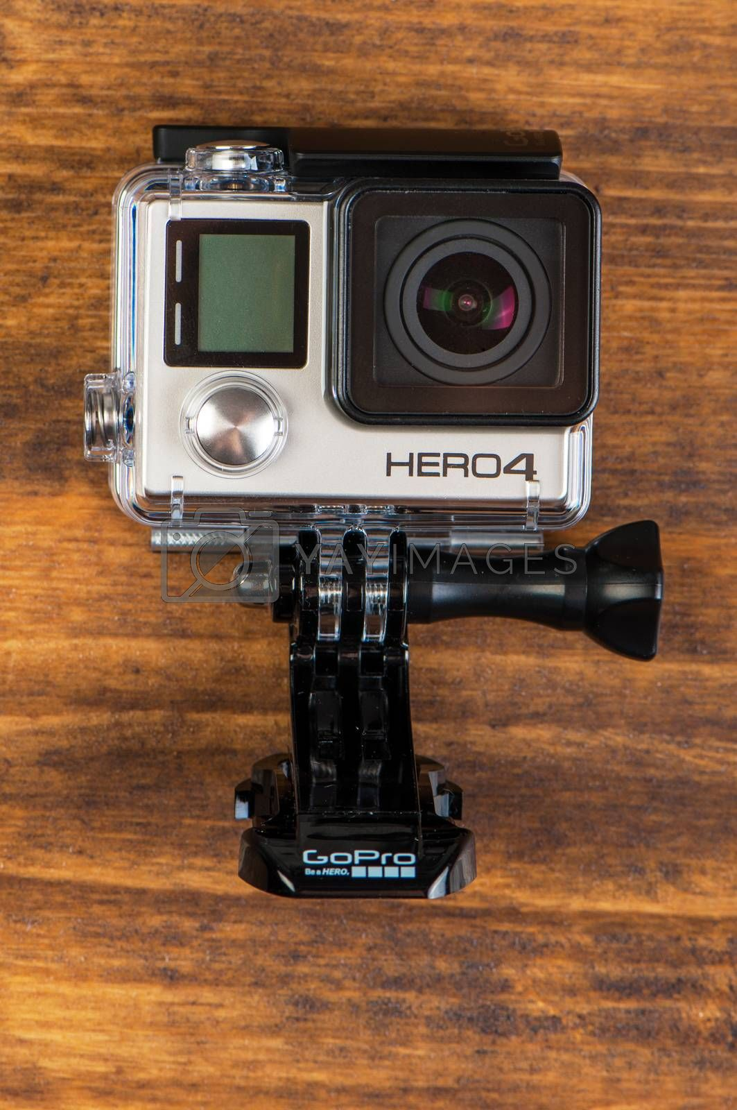 NOVI SAD, SERBIA - JUNE 19, 2016: GoPro Hero 4 Black waterproof action camera announced in september 2014 weights only 152g with waterproof housing, illustrative editorial
