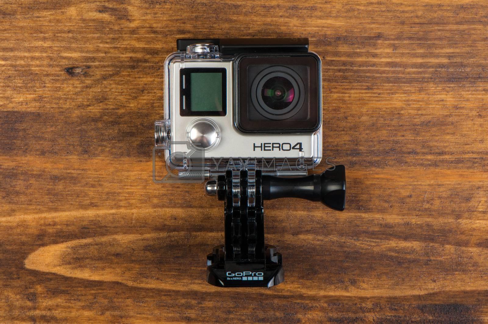 NOVI SAD, SERBIA - JUNE 19, 2016: GoPro Hero 4 Black waterproof action camera announced in september 2014 captures up to 30 photos per second, illustrative editorial