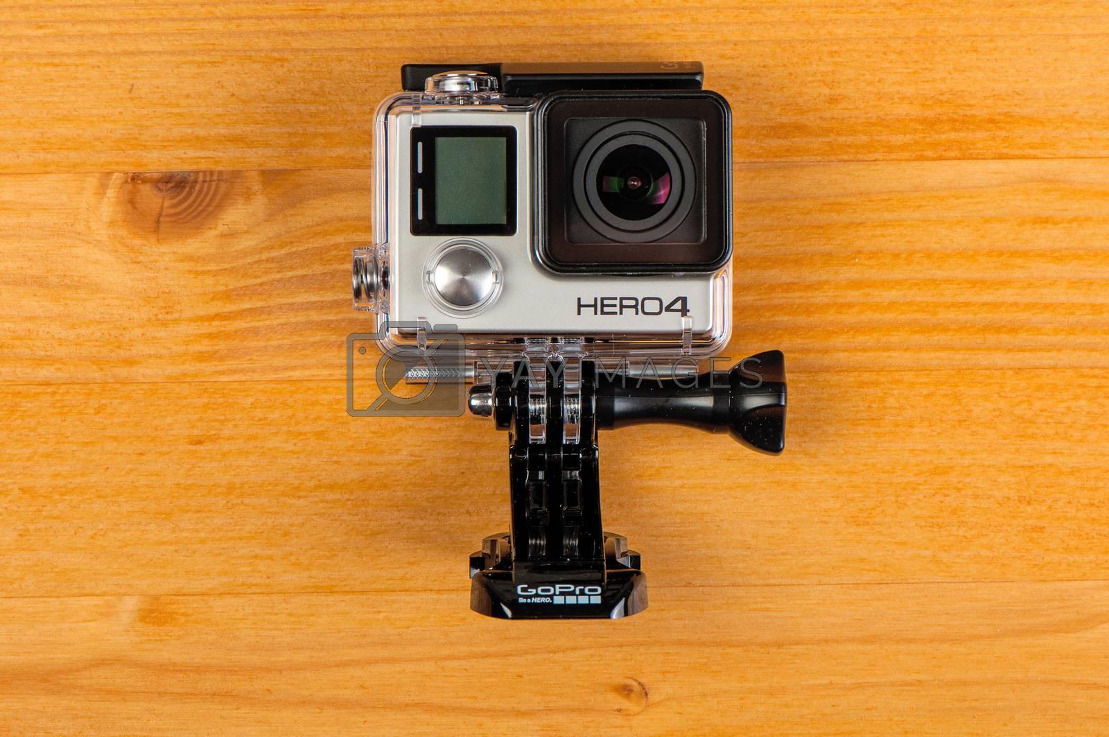 NOVI SAD, SERBIA - JUNE 19, 2016: GoPro Hero 4 Black waterproof action camera announced in september 2014 captures full hd video in up to 120 frames per second, illustrative editorial