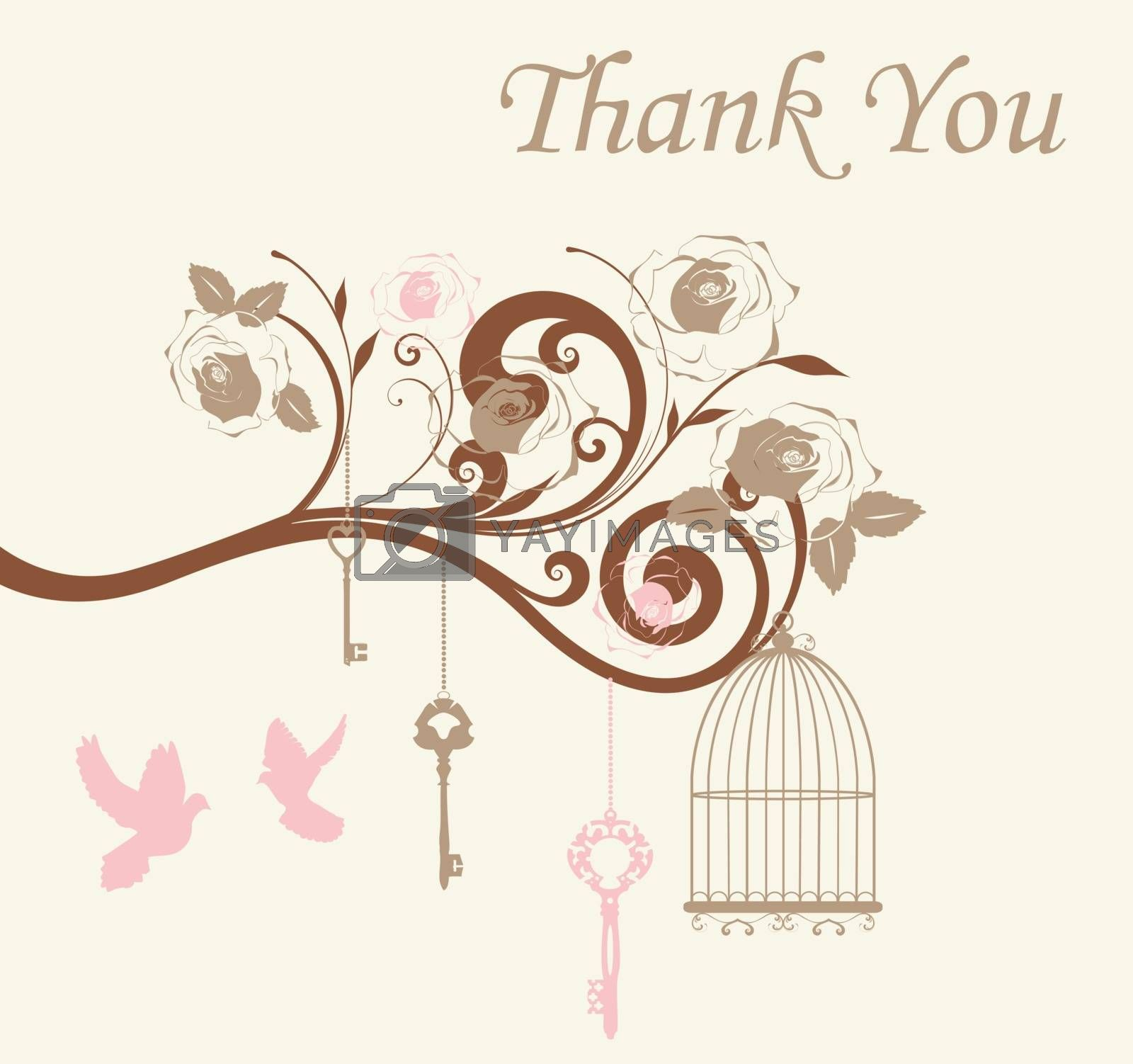 vector illustration of thank you card with cages and doves